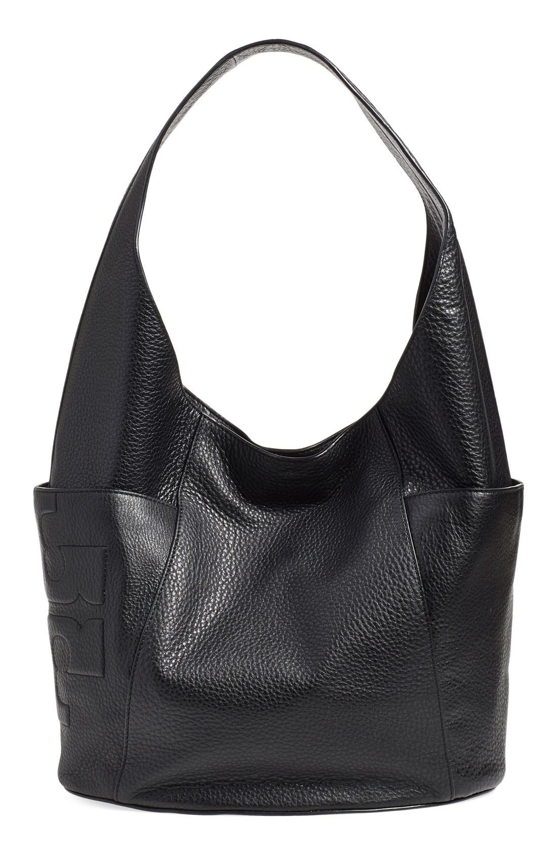 'Bombe T' Leather Hobo, Main, color, 001