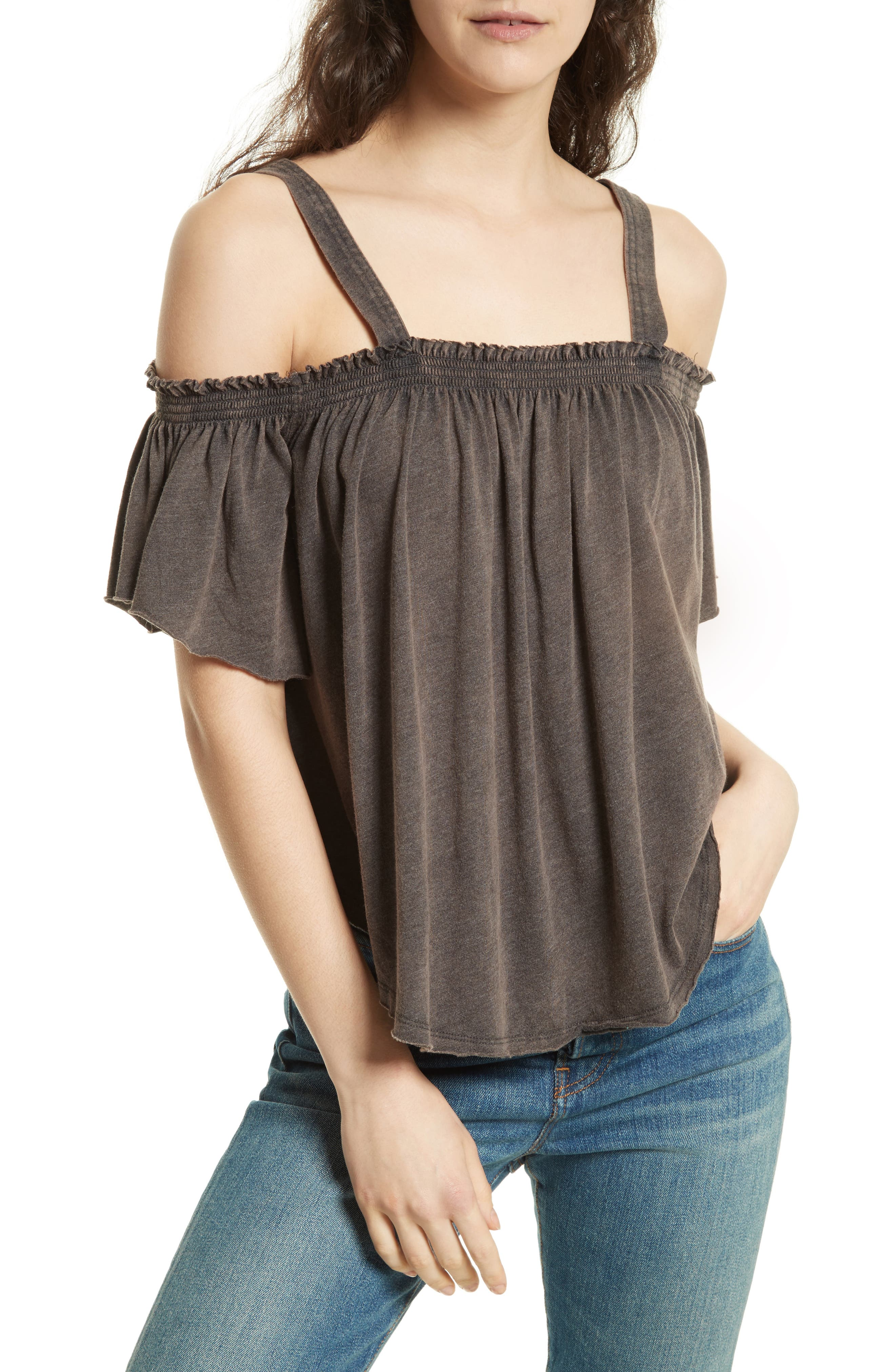 FREE PEOPLE,                             Darling Off the Shoulder Top,                             Main thumbnail 1, color,                             001