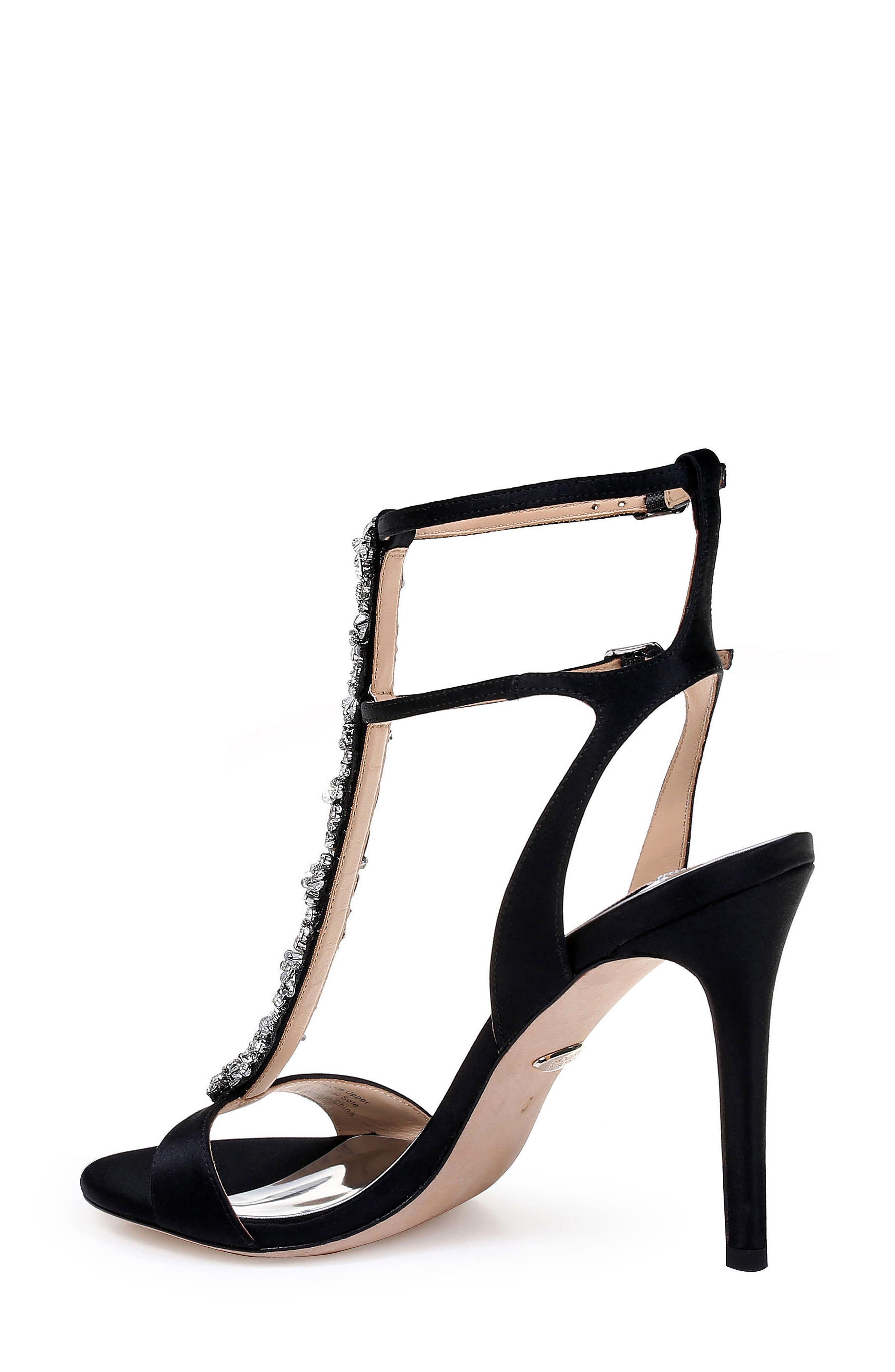 Hollow T-Strap Embellished Sandal,                             Alternate thumbnail 2, color,                             BLACK SATIN