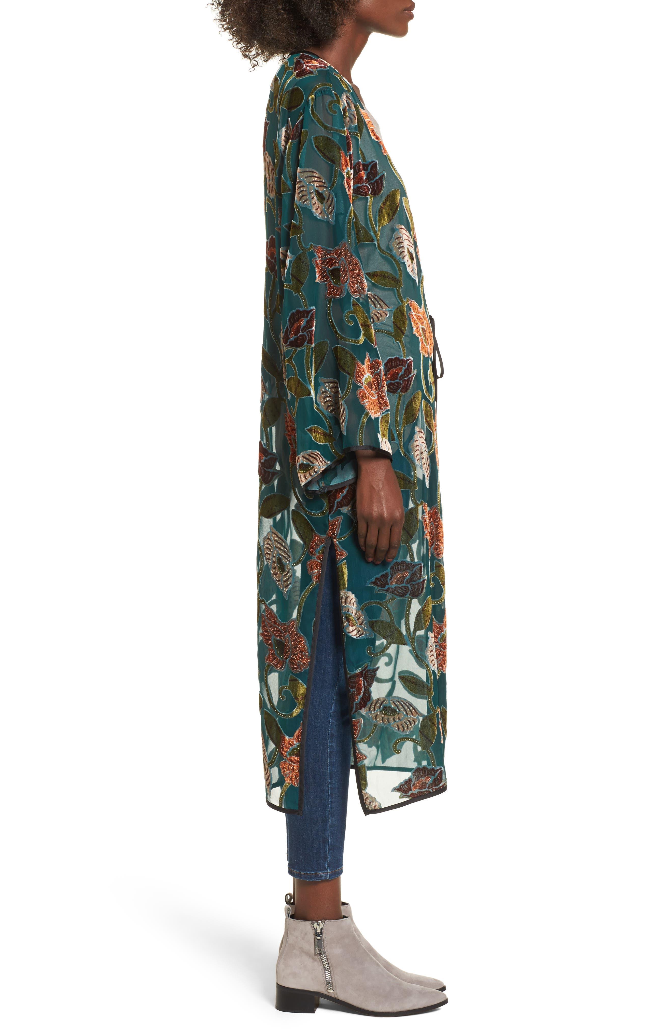 Velvet Burnout Kimono,                             Alternate thumbnail 3, color,                             440