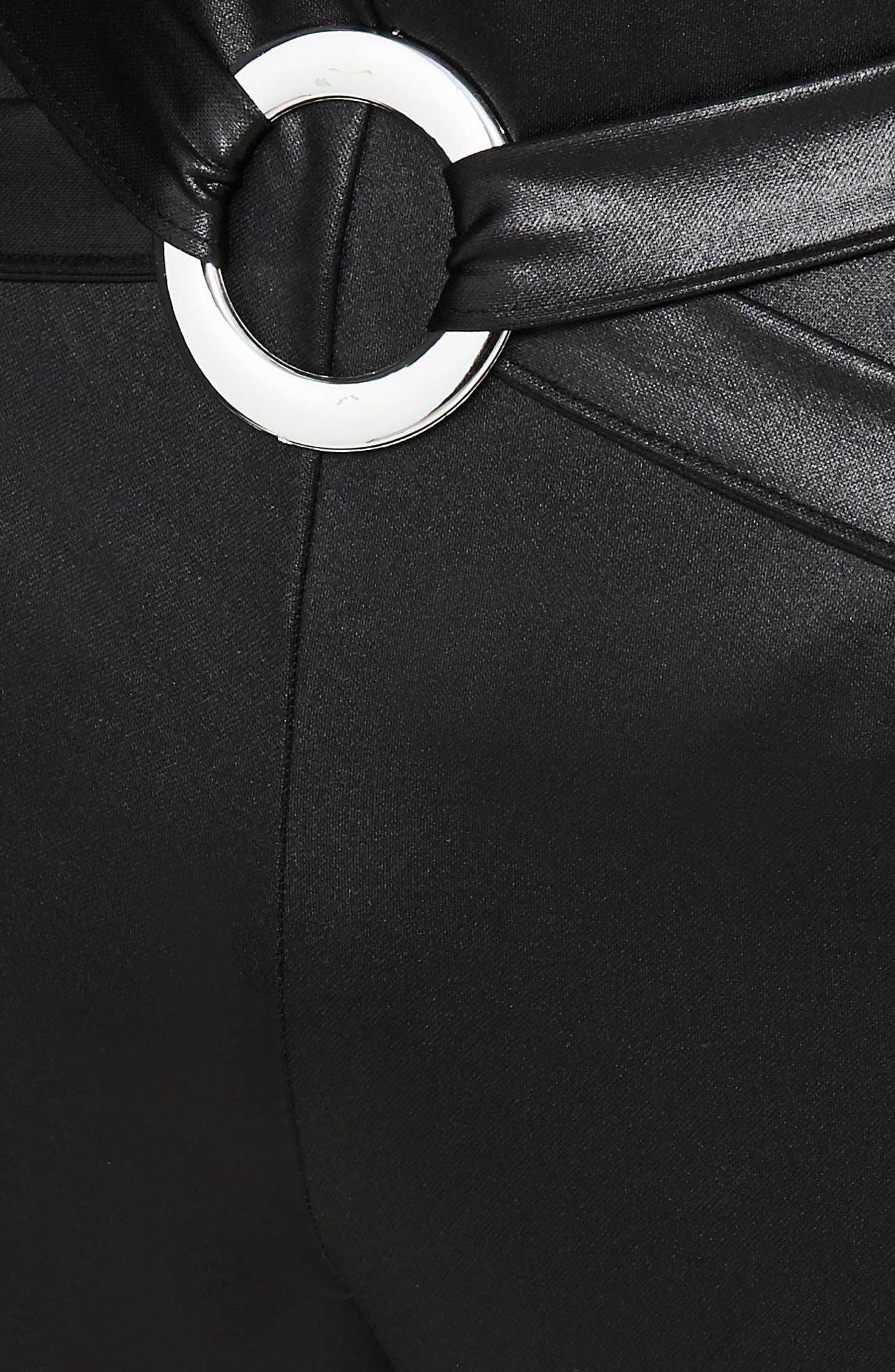 Harness Detail Faux Leather Leggings,                             Alternate thumbnail 3, color,                             001