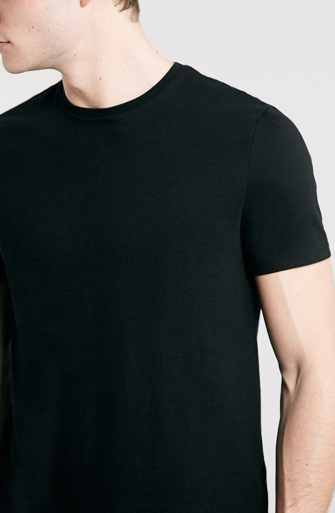 Slim Fit Crewneck T-Shirt,                             Alternate thumbnail 4, color,                             001