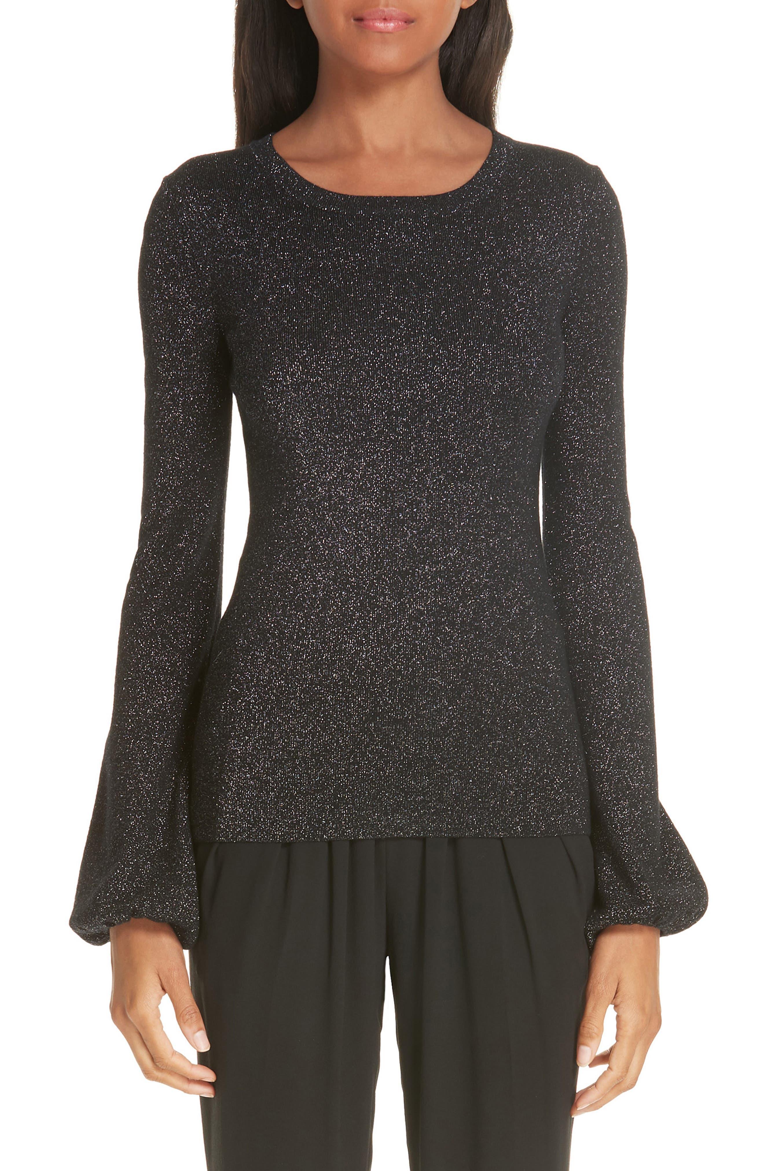 Michael Kors Peasant Sleeve Metallic Merino Wool Blend Sweater, Black