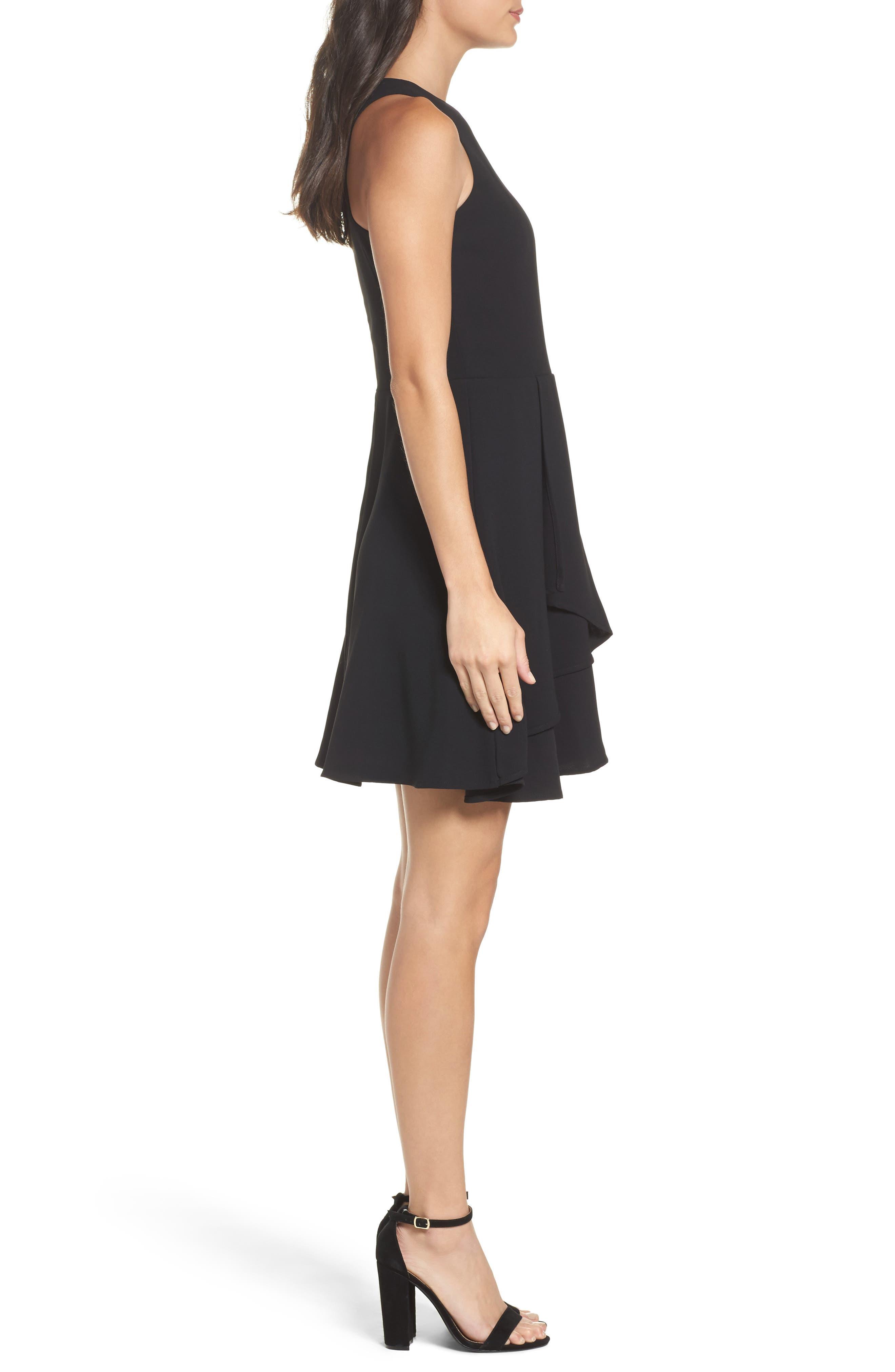 Athena Fit & Flare Dress,                             Alternate thumbnail 3, color,                             001