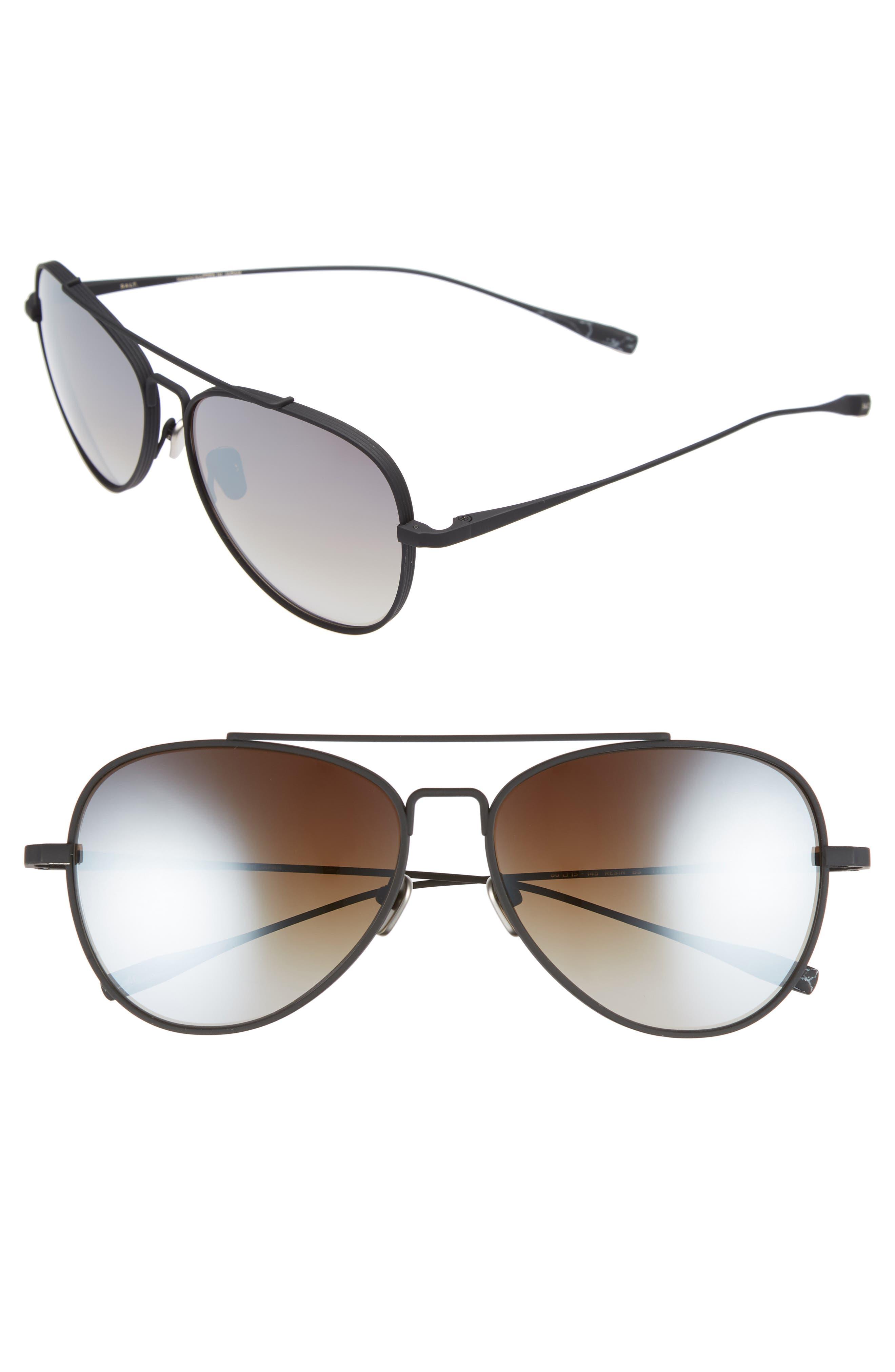 60mm Polarized Aviator Sunglasses,                         Main,                         color, BLACK