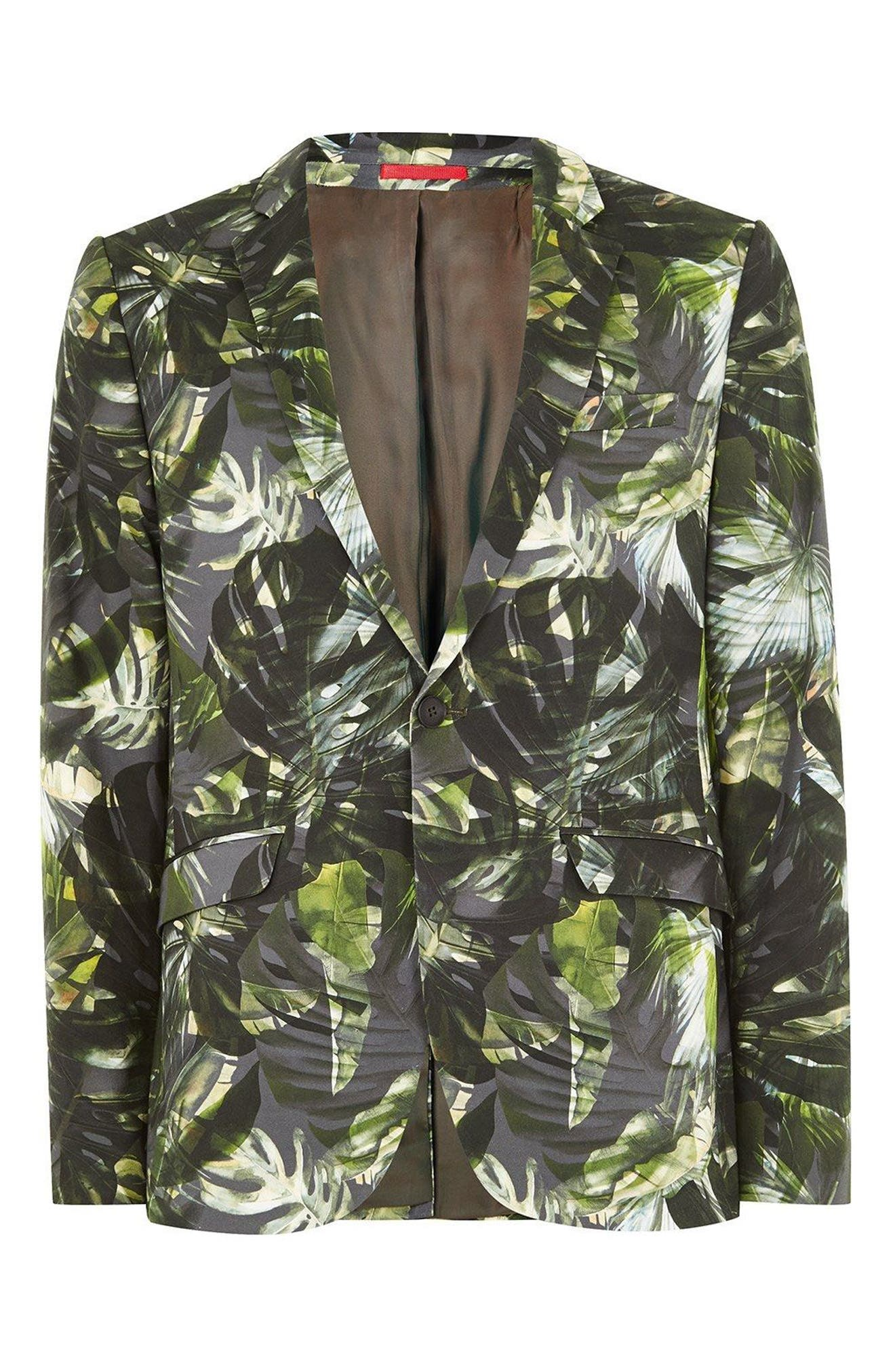 Ultra Skinny Fit Palm Print Suit Jacket,                             Alternate thumbnail 3, color,                             GREEN