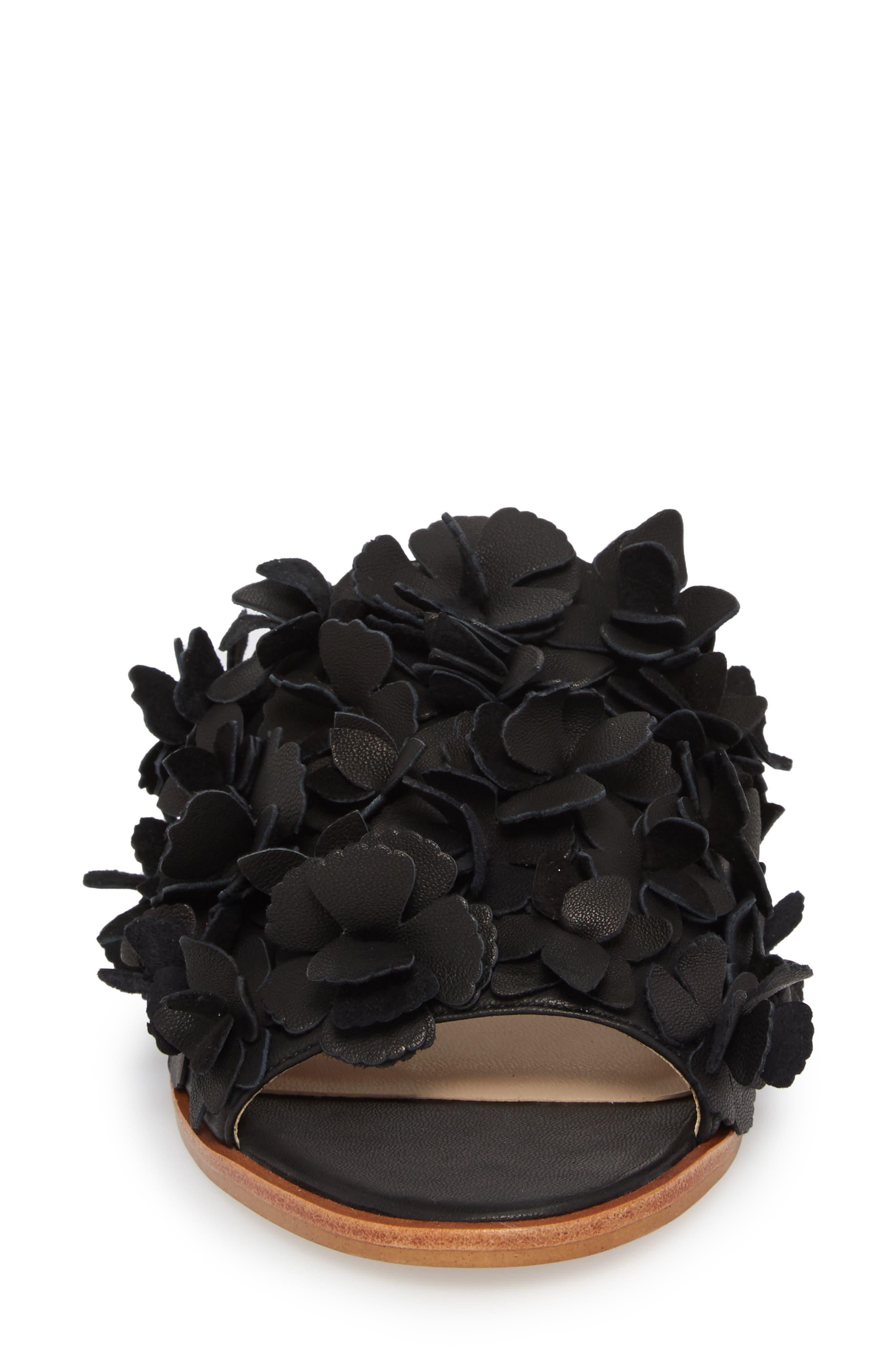 Caelyn Embellished Flat Sandal,                             Alternate thumbnail 4, color,                             BLACK