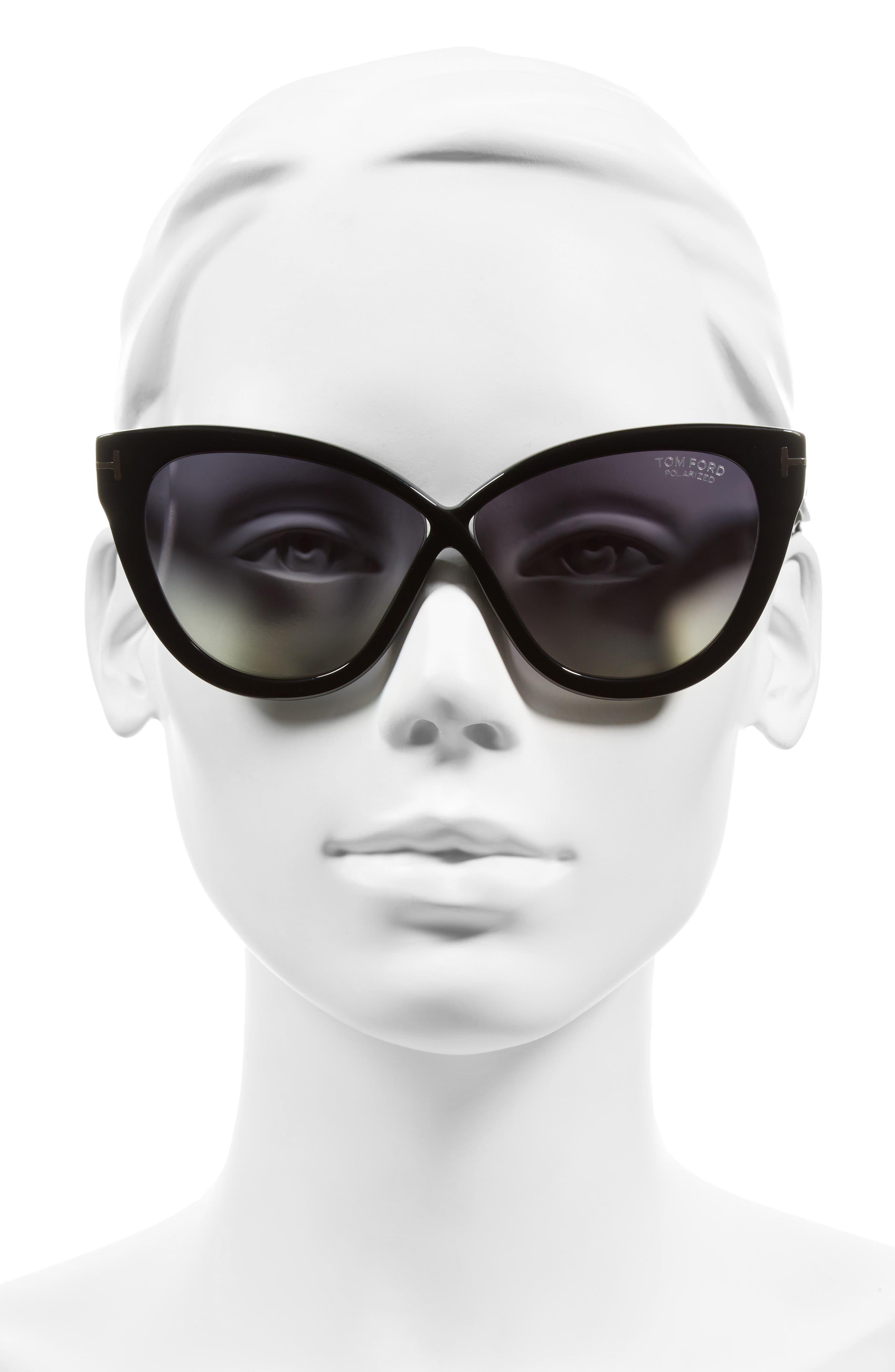 Arabella 59mm Cat Eye Sunglasses,                             Alternate thumbnail 3, color,                             001