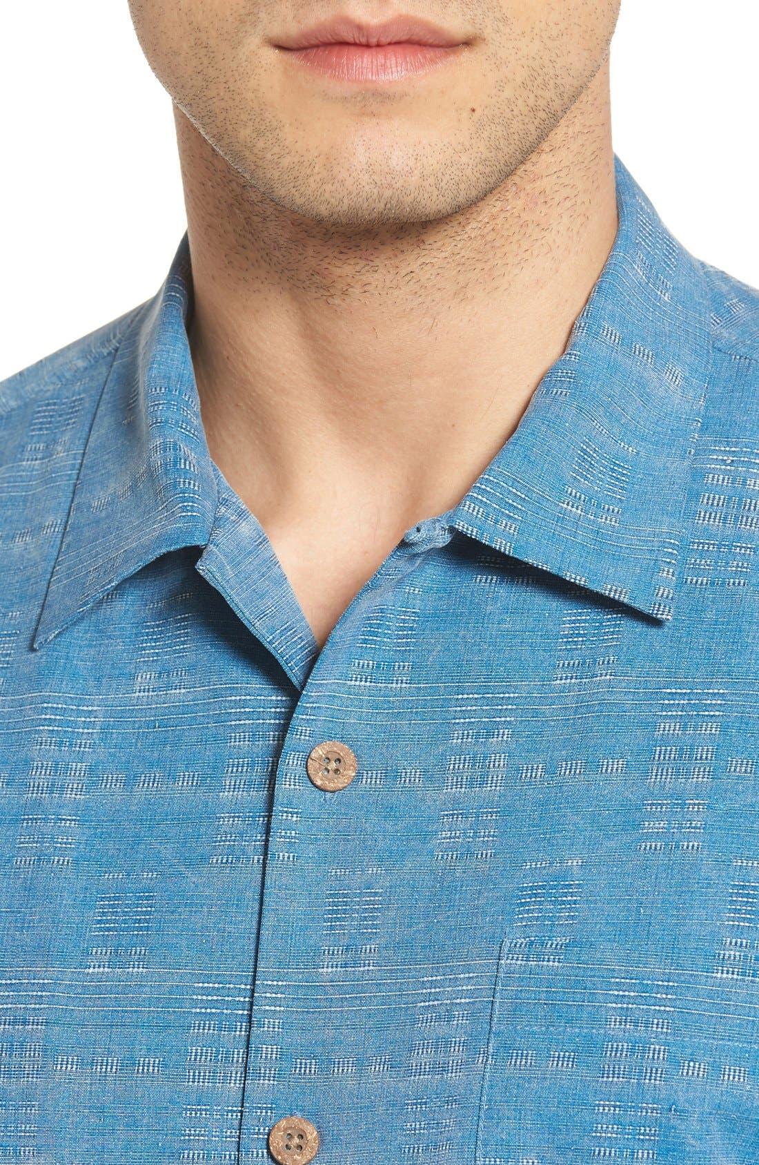'Geo-Rific Jacquard' Original Fit Silk Camp Shirt,                             Alternate thumbnail 30, color,