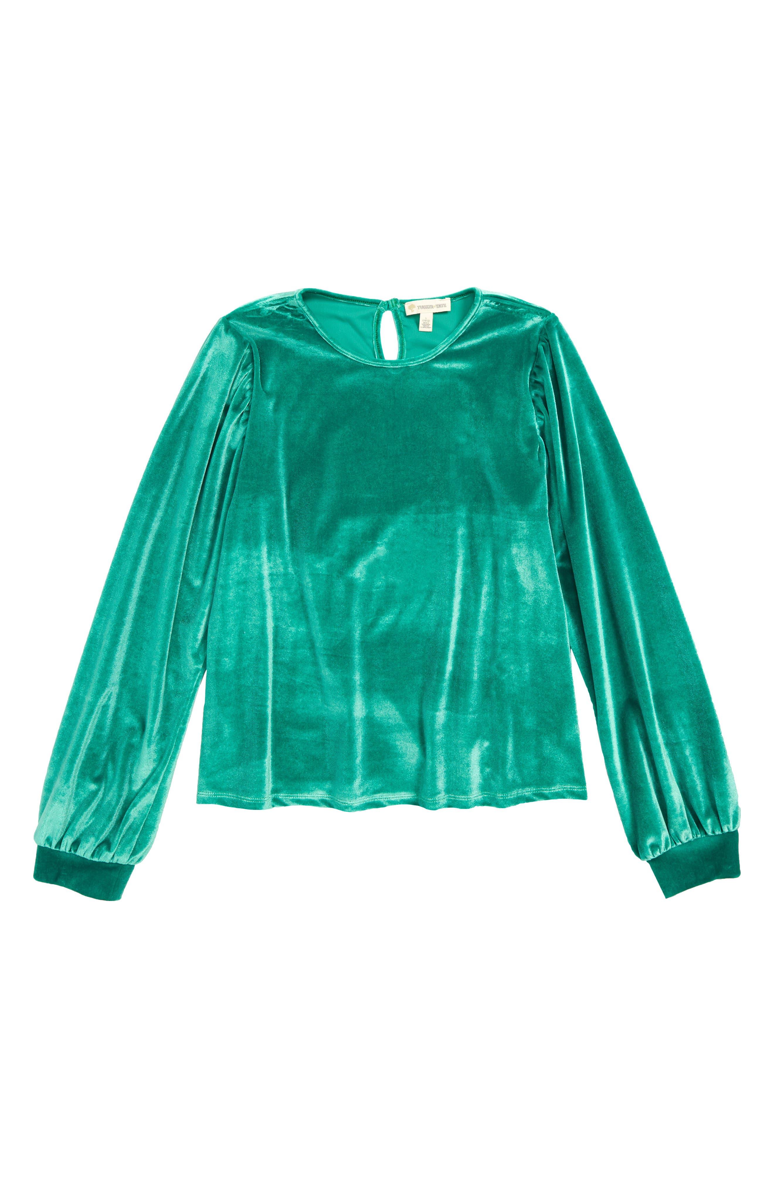 Bubble Sleeve Velour Top,                         Main,                         color, GREEN GOLF