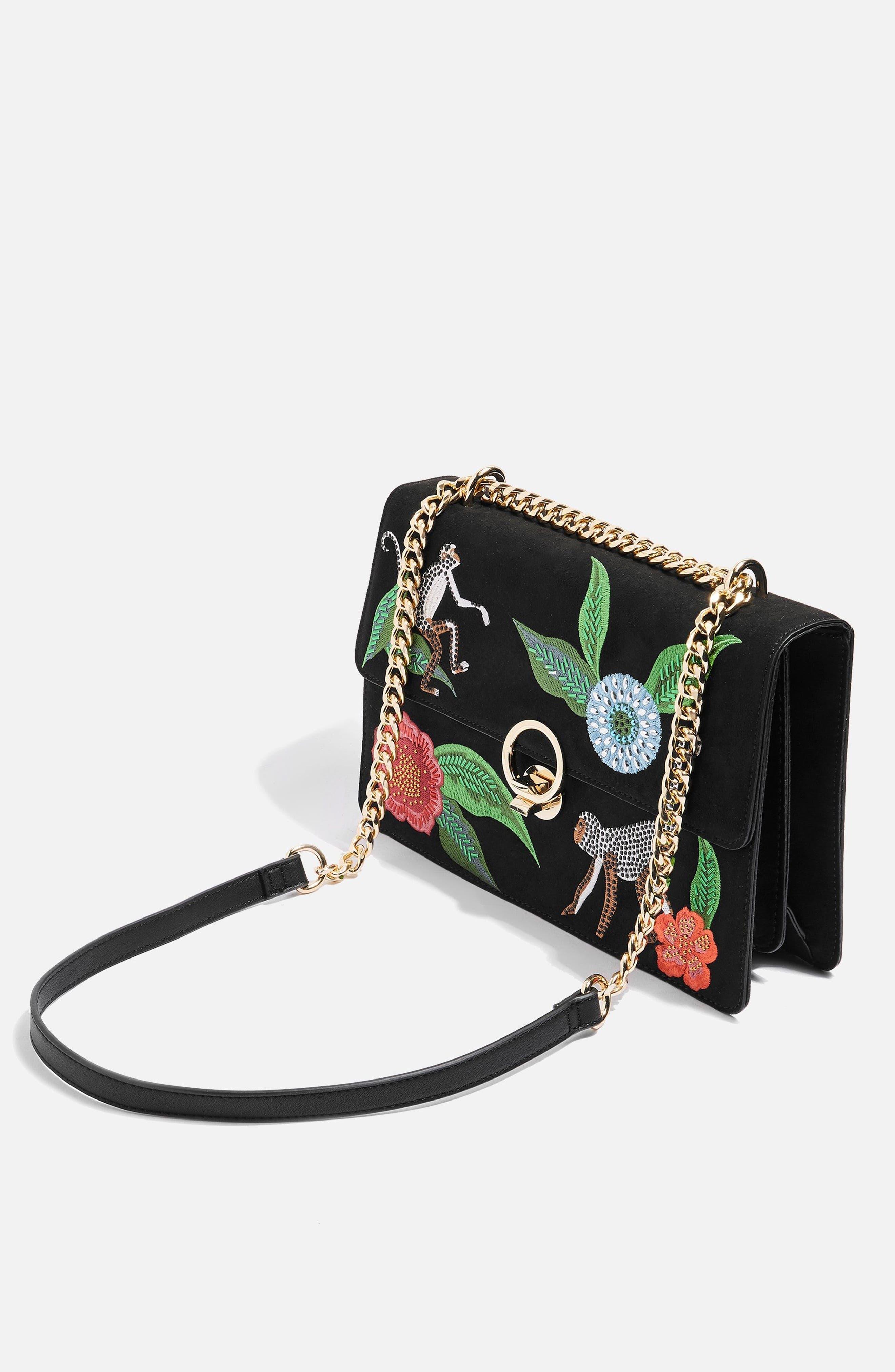 Milo Monkey Floral Shoulder Bag,                             Alternate thumbnail 3, color,                             BLACK