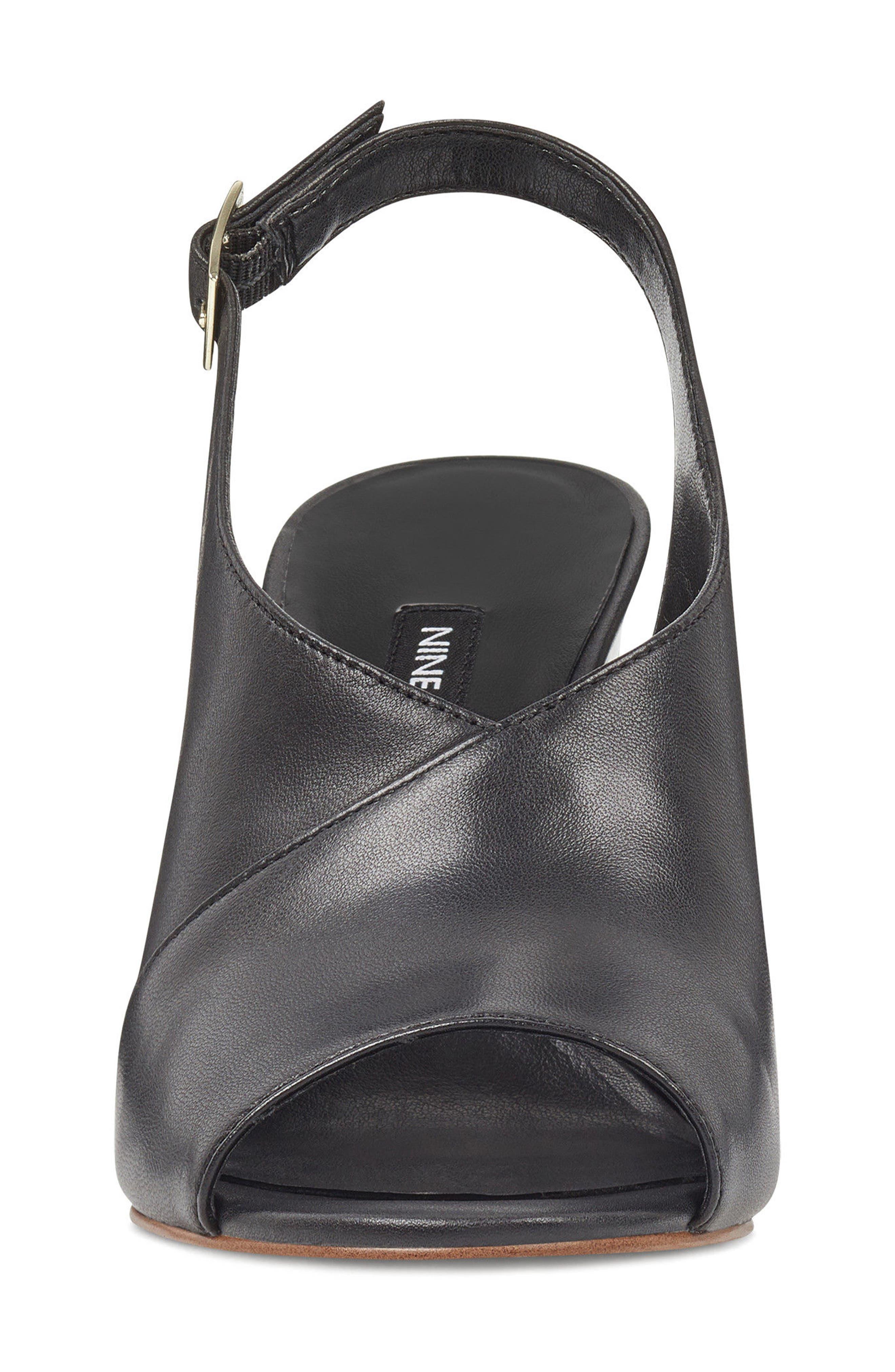 Morenzo Slingback Sandal,                             Alternate thumbnail 4, color,                             BLACK LEATHER