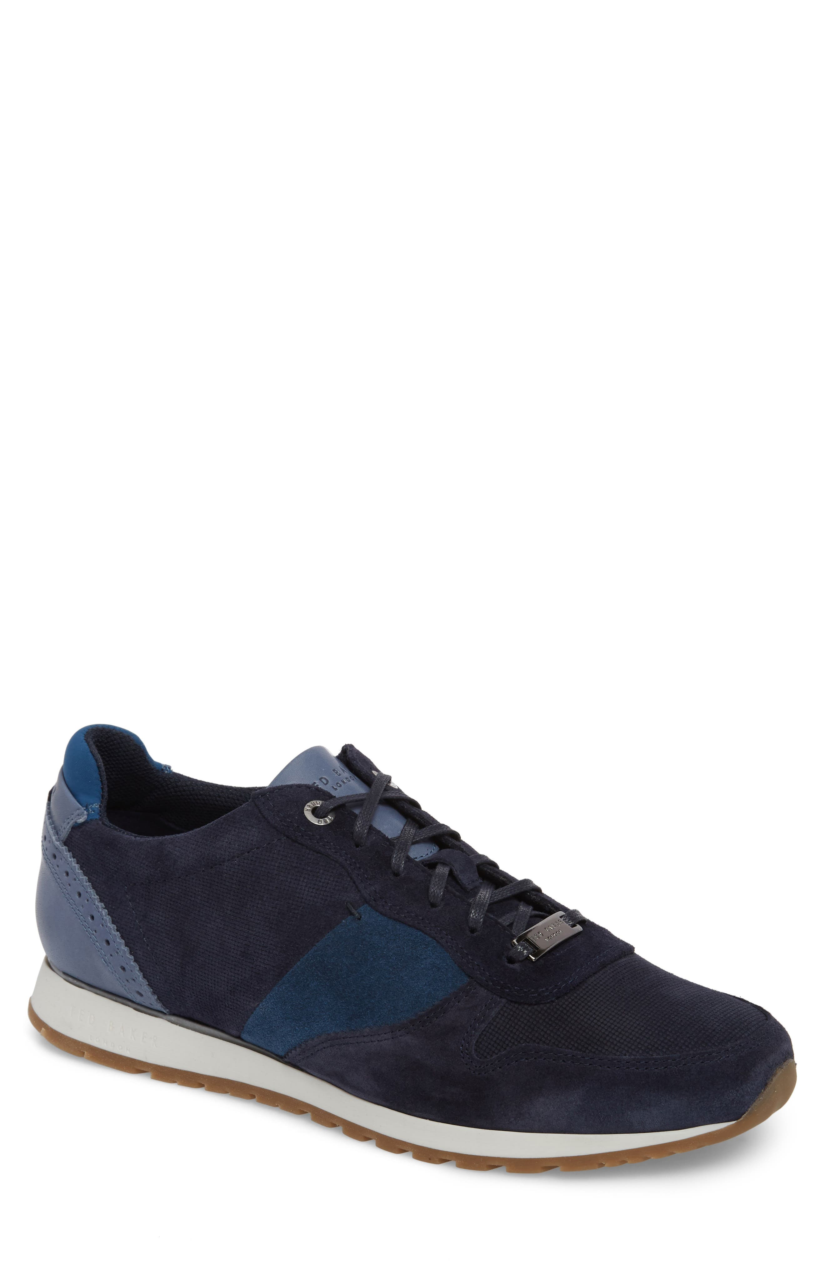 Shindls Low Top Sneaker,                         Main,                         color, BLUE LEATHER/ SUEDE