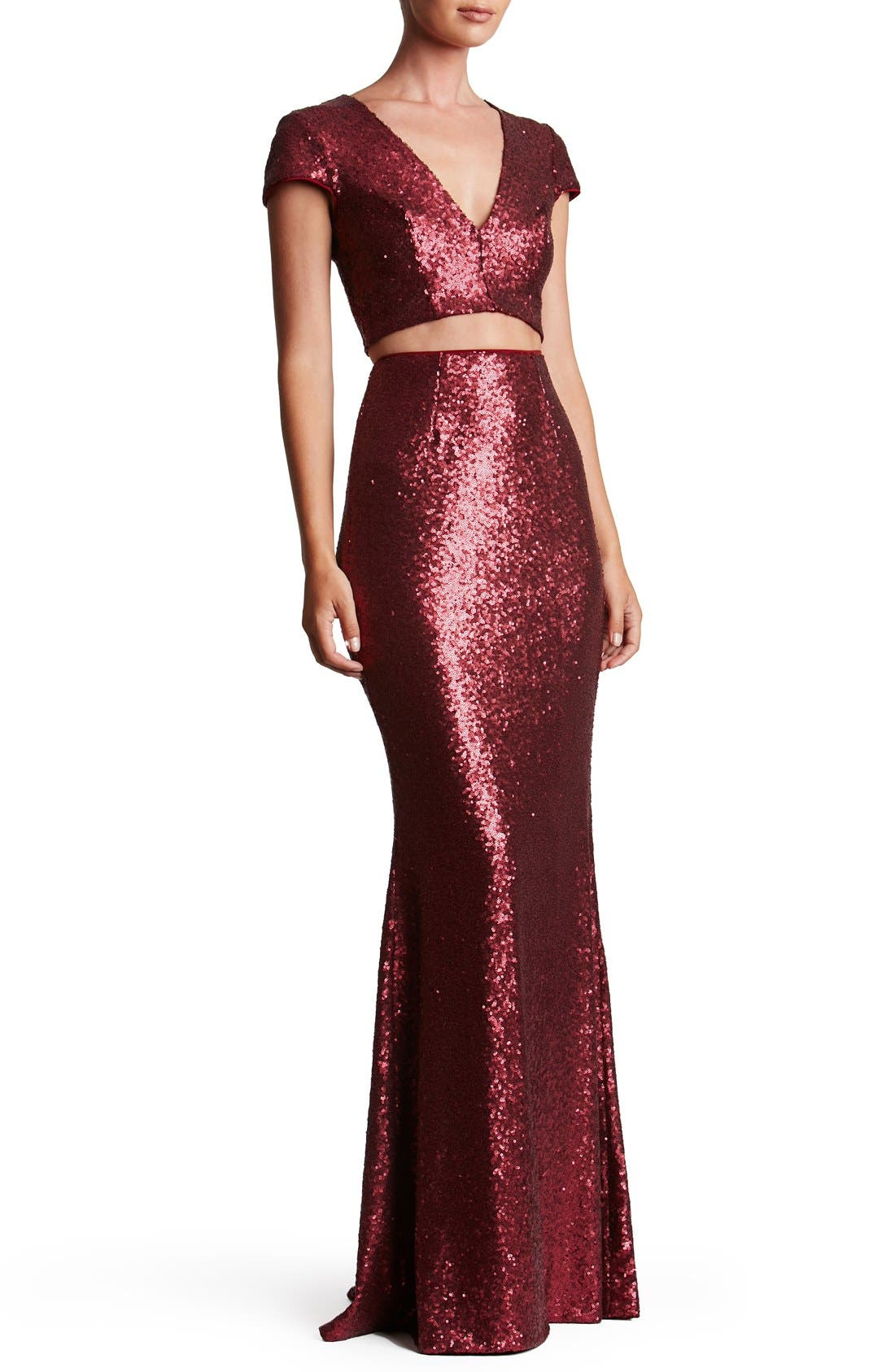 Cara Sequin Two-Piece Gown,                             Main thumbnail 4, color,