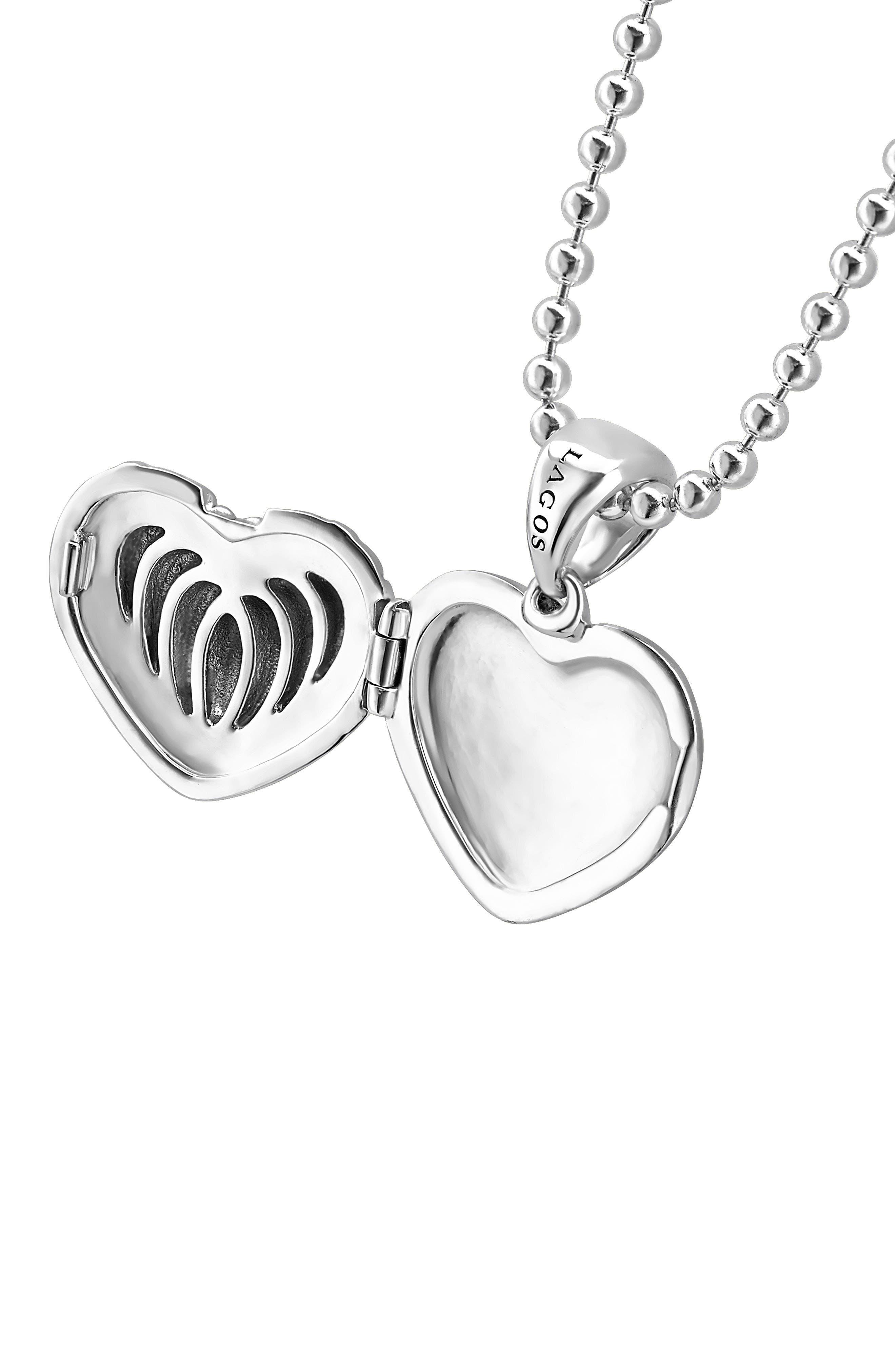 Beloved Fluted Heart Locket Necklace,                             Alternate thumbnail 5, color,                             SILVER