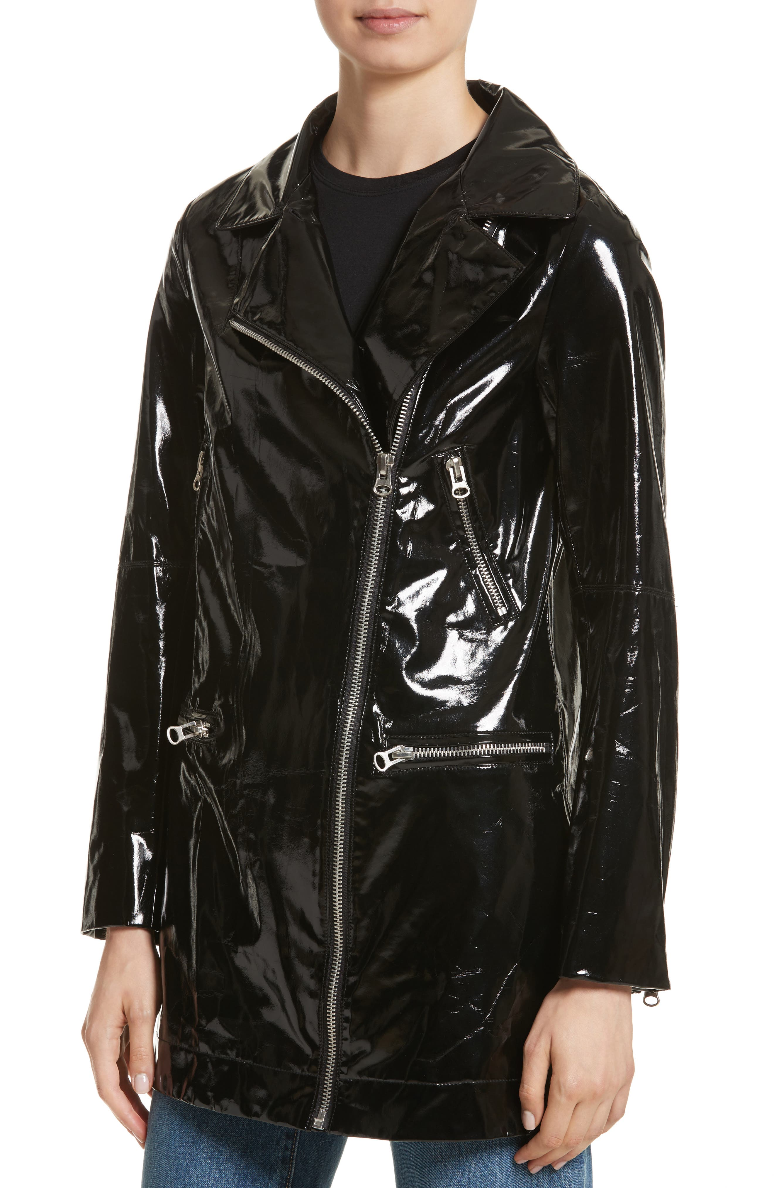 Olwen Faux Leather Long Biker Coat with Faux Fur Collar,                             Alternate thumbnail 5, color,                             001