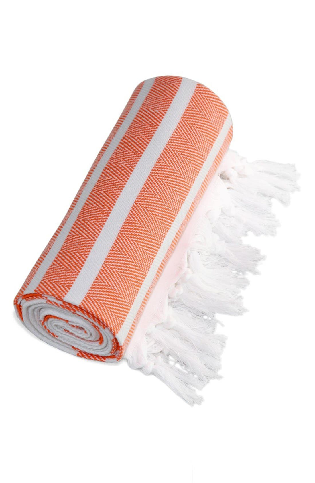 Herringbone Striped Turkish Pestemal Towel,                             Alternate thumbnail 2, color,                             800