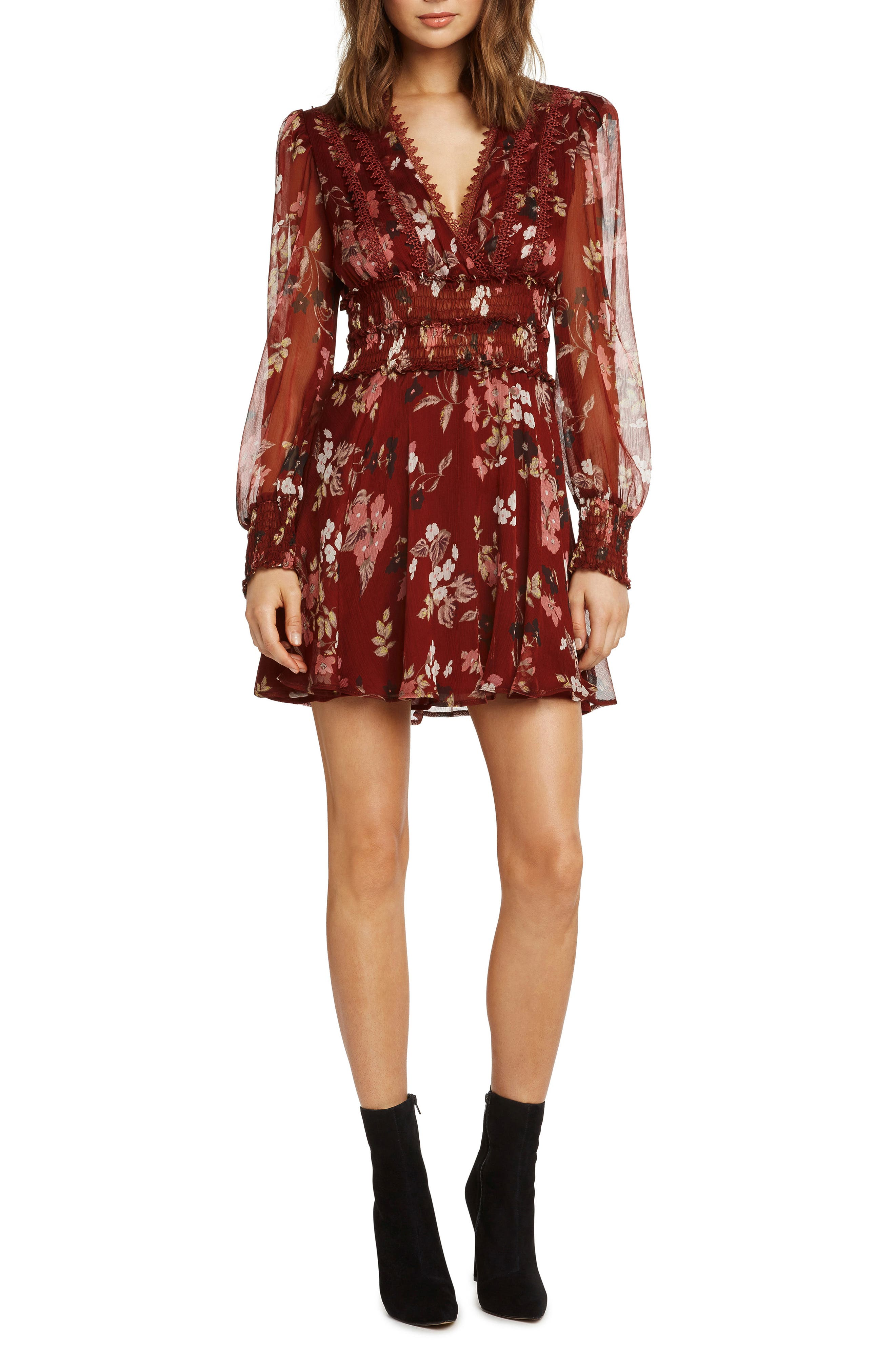Print Smocked Fit & Flare Dress,                         Main,                         color, RUST