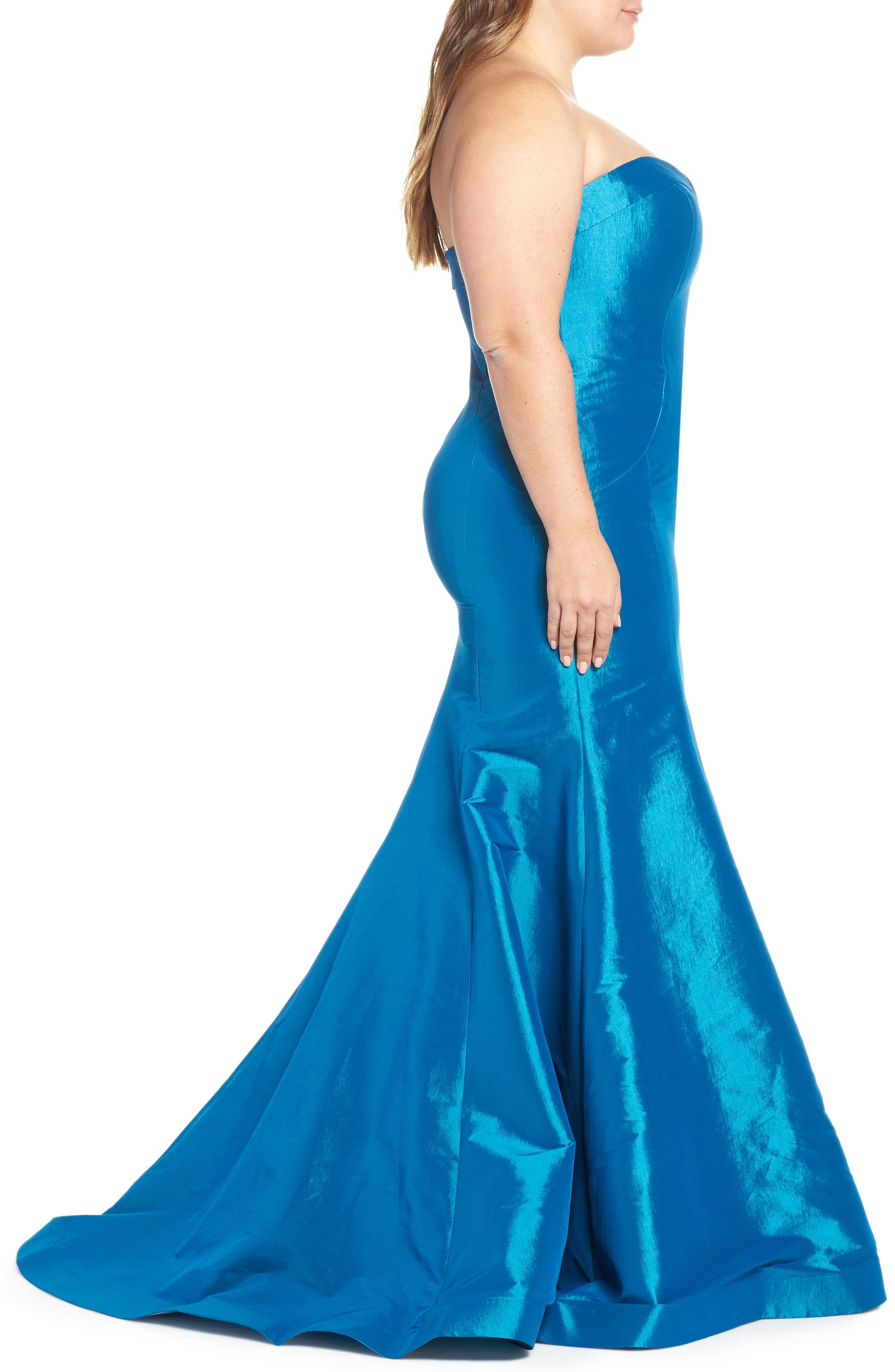 Bustier Mermaid Gown,                             Alternate thumbnail 3, color,                             PEACOCK