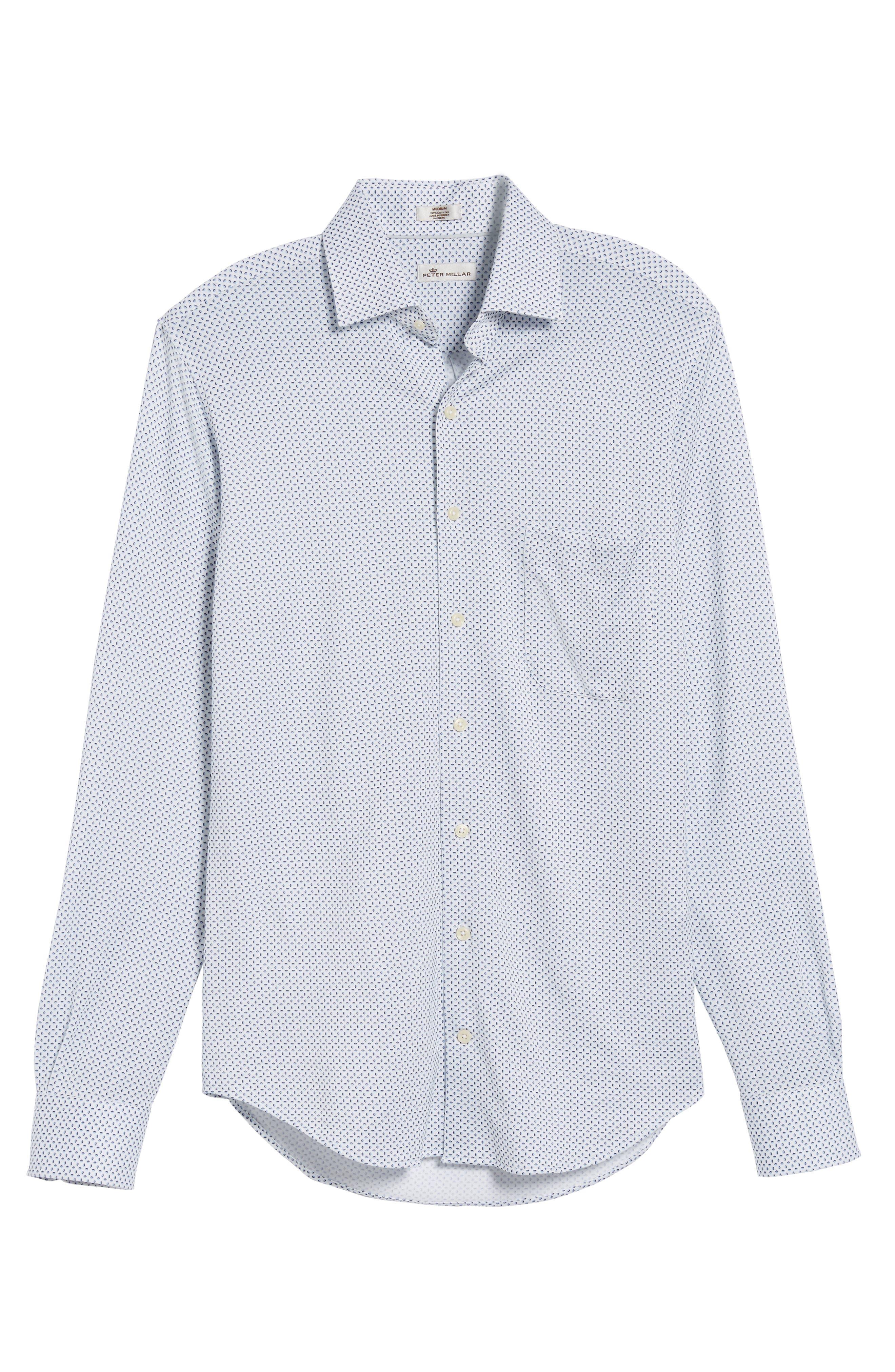 Ocean Mist Classic Fit Print Sport Shirt,                             Alternate thumbnail 6, color,                             100