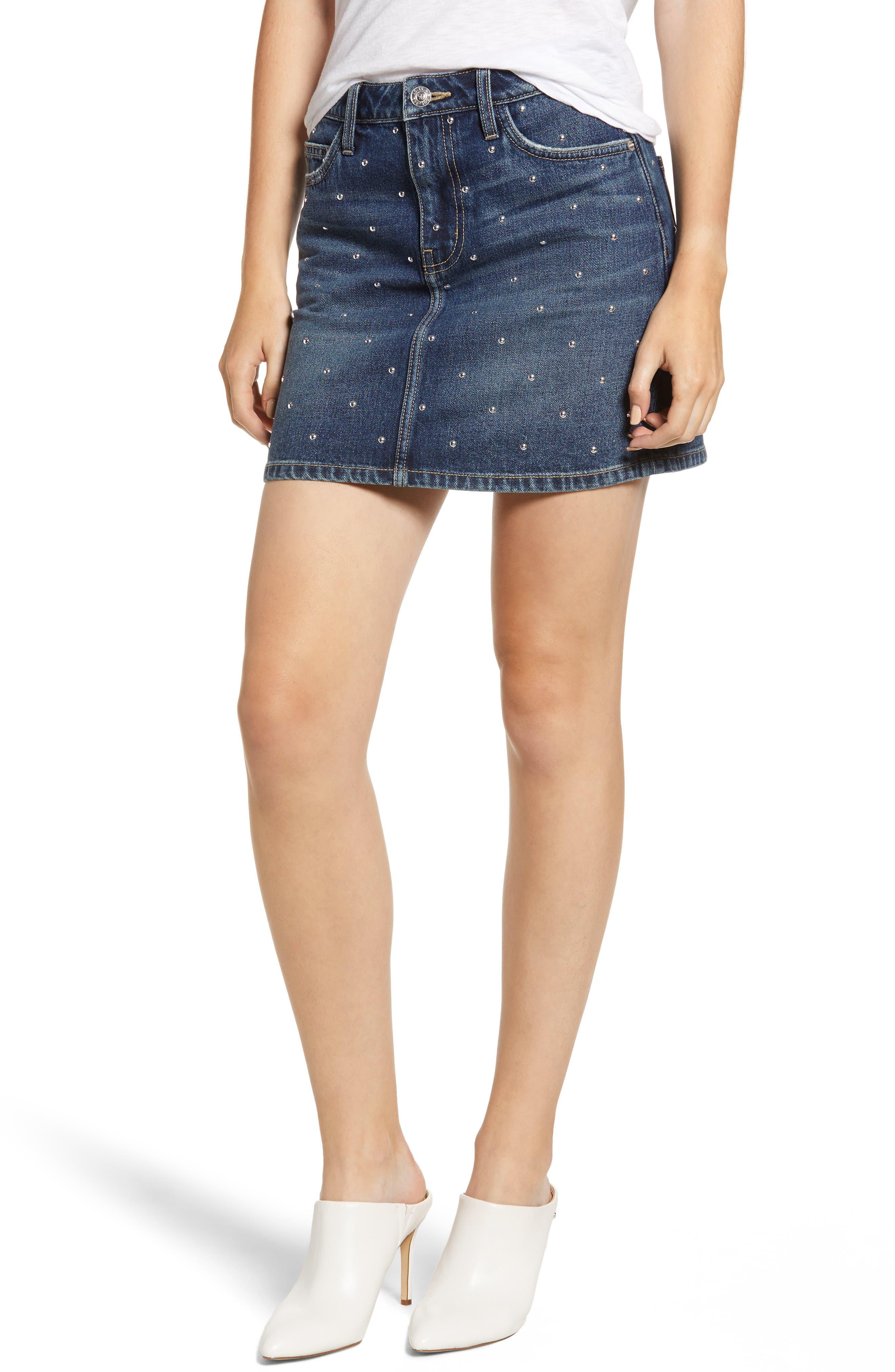 Current/Elliott Studded Denim Mini Skirt in Night Rider W/ Studded Dot