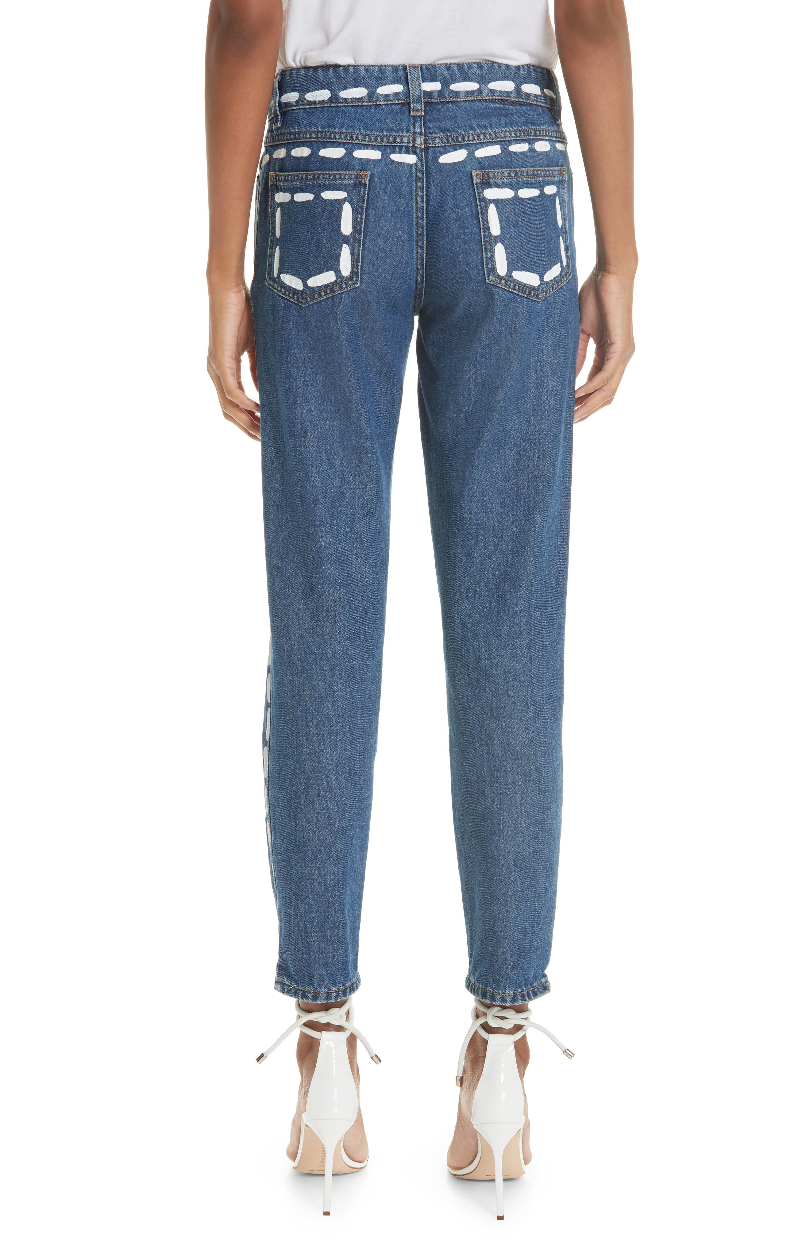 MOSCHINO,                             Dotted Line Straight Leg Jeans,                             Alternate thumbnail 2, color,                             DENIM
