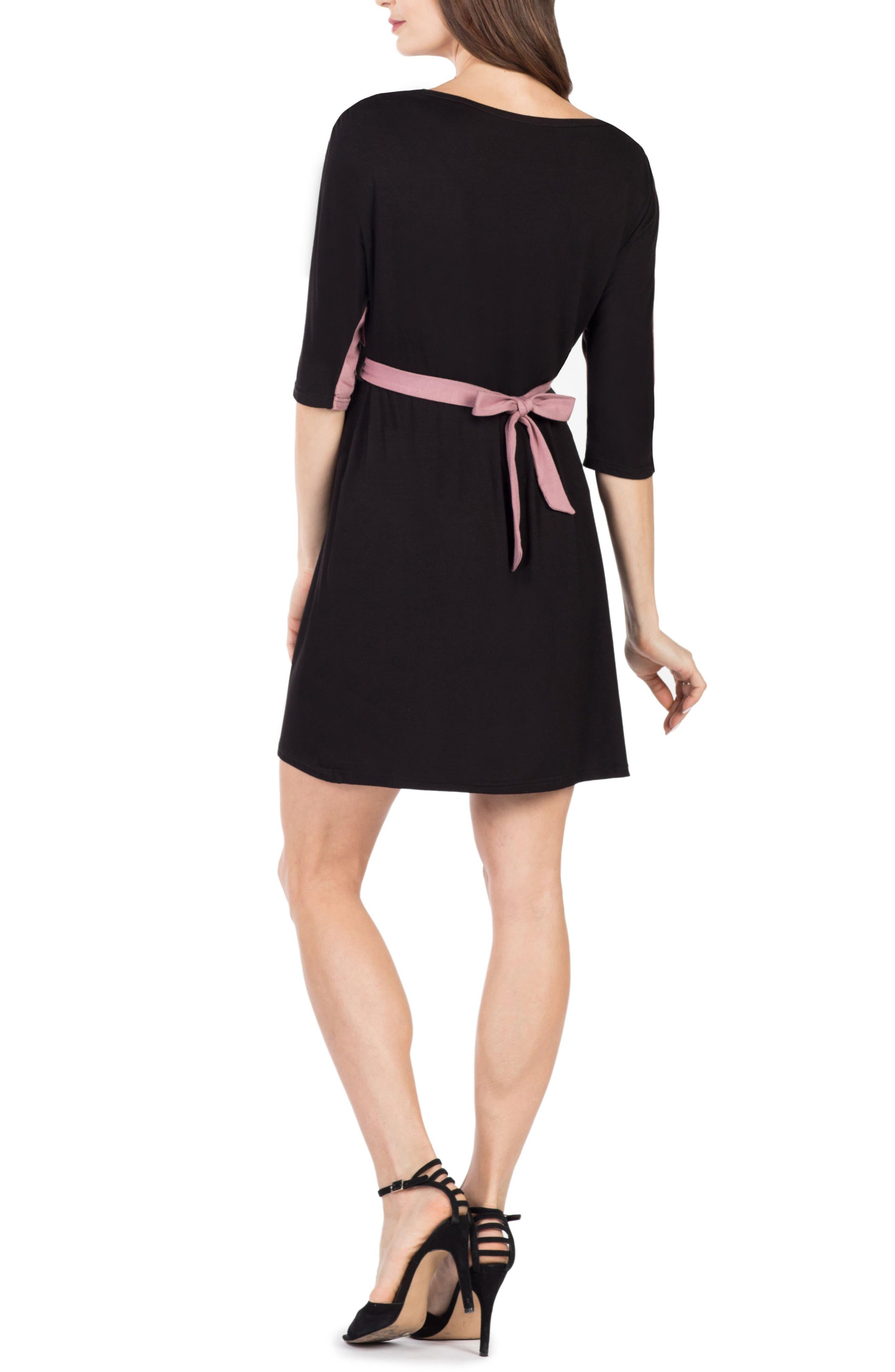 Siena Maternity/Nursing Dress,                             Alternate thumbnail 2, color,                             BLACK/ MAUVE