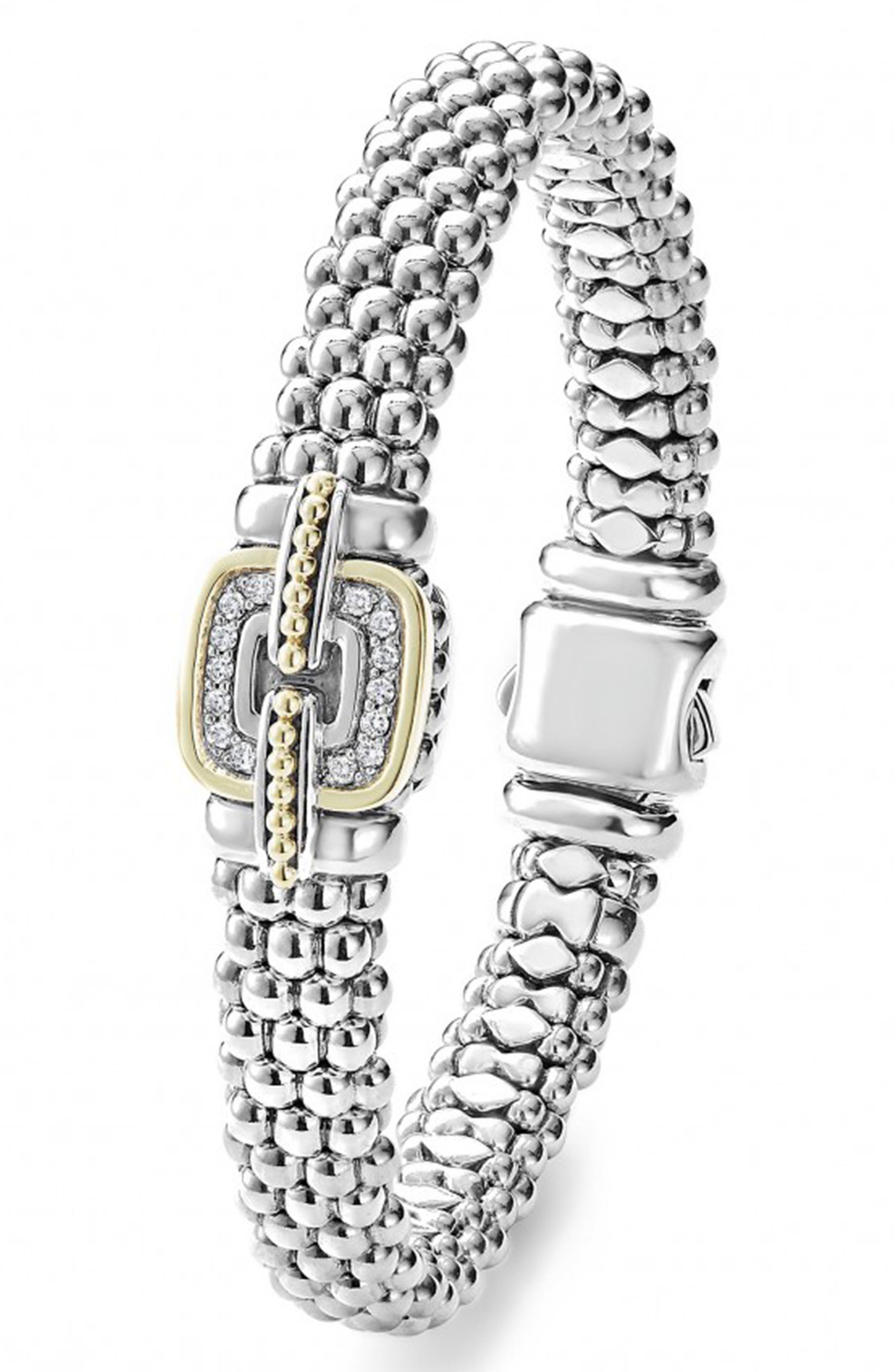 Cushion Caviar Bracelet,                             Alternate thumbnail 4, color,                             SILVER/ GOLD