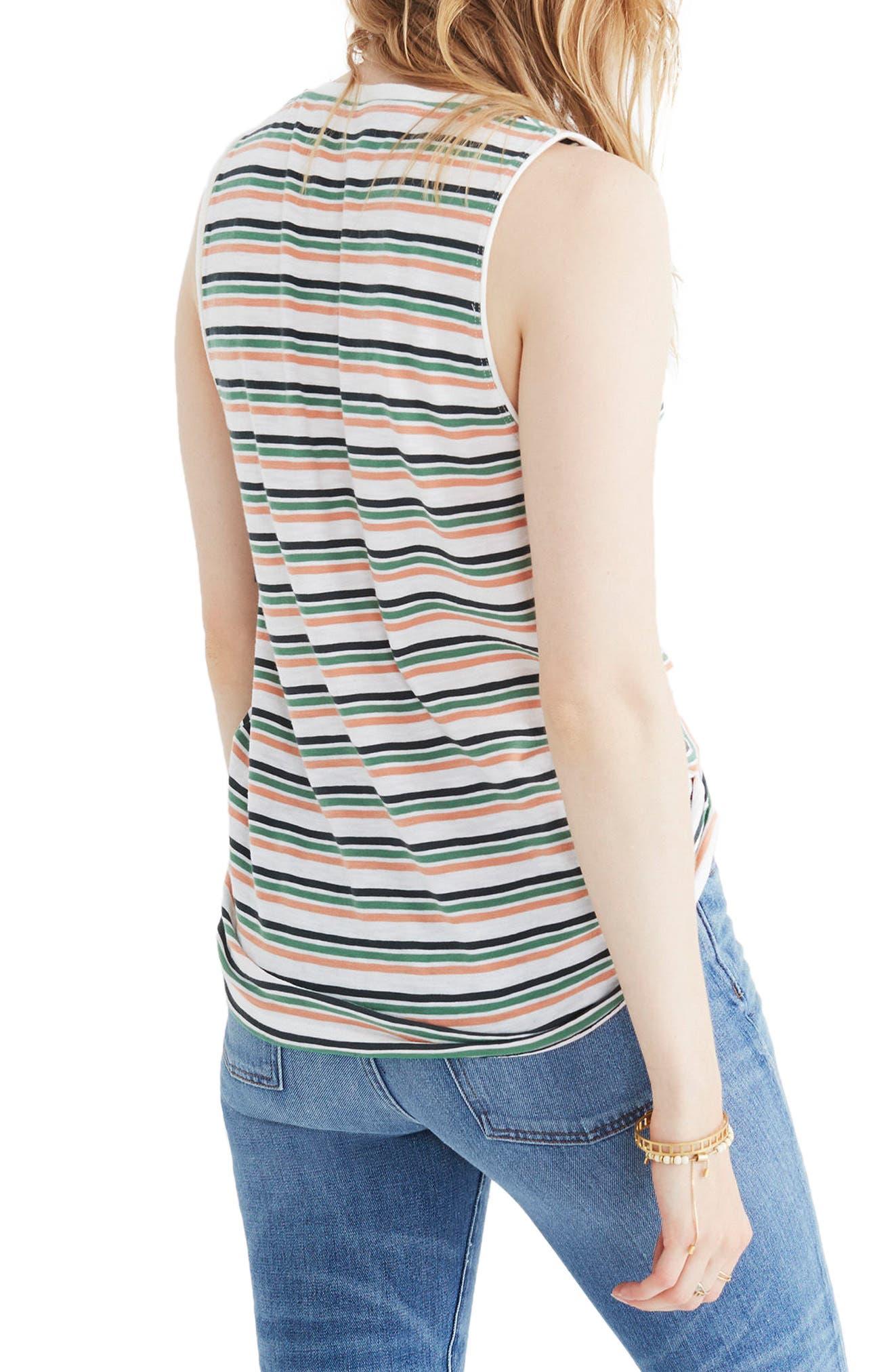 Whisper Cotton Stripe V-Neck Pocket Tank,                             Alternate thumbnail 2, color,                             100