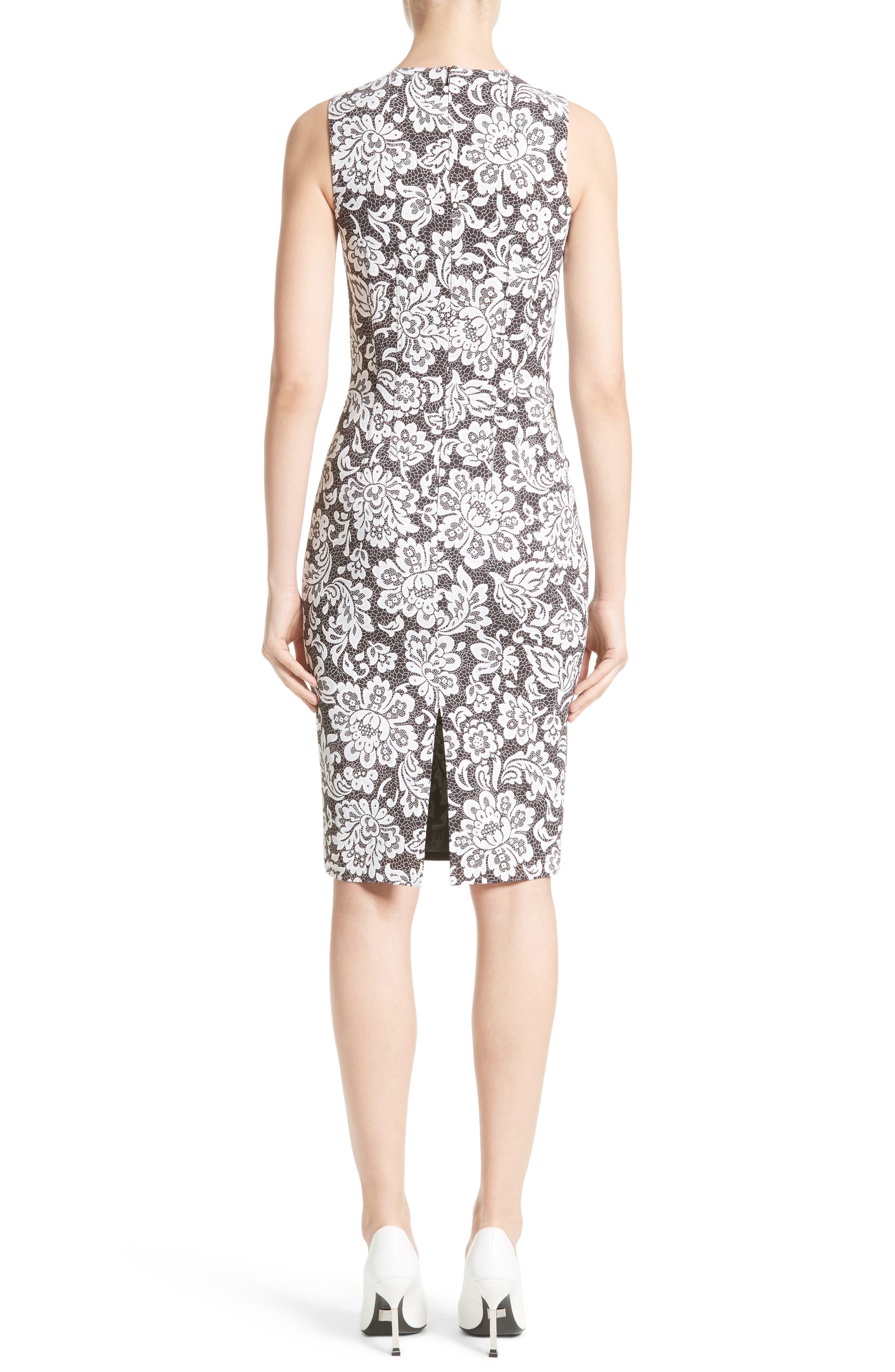 Stretch Cady Lace Print Sheath Dress,                             Alternate thumbnail 2, color,                             001