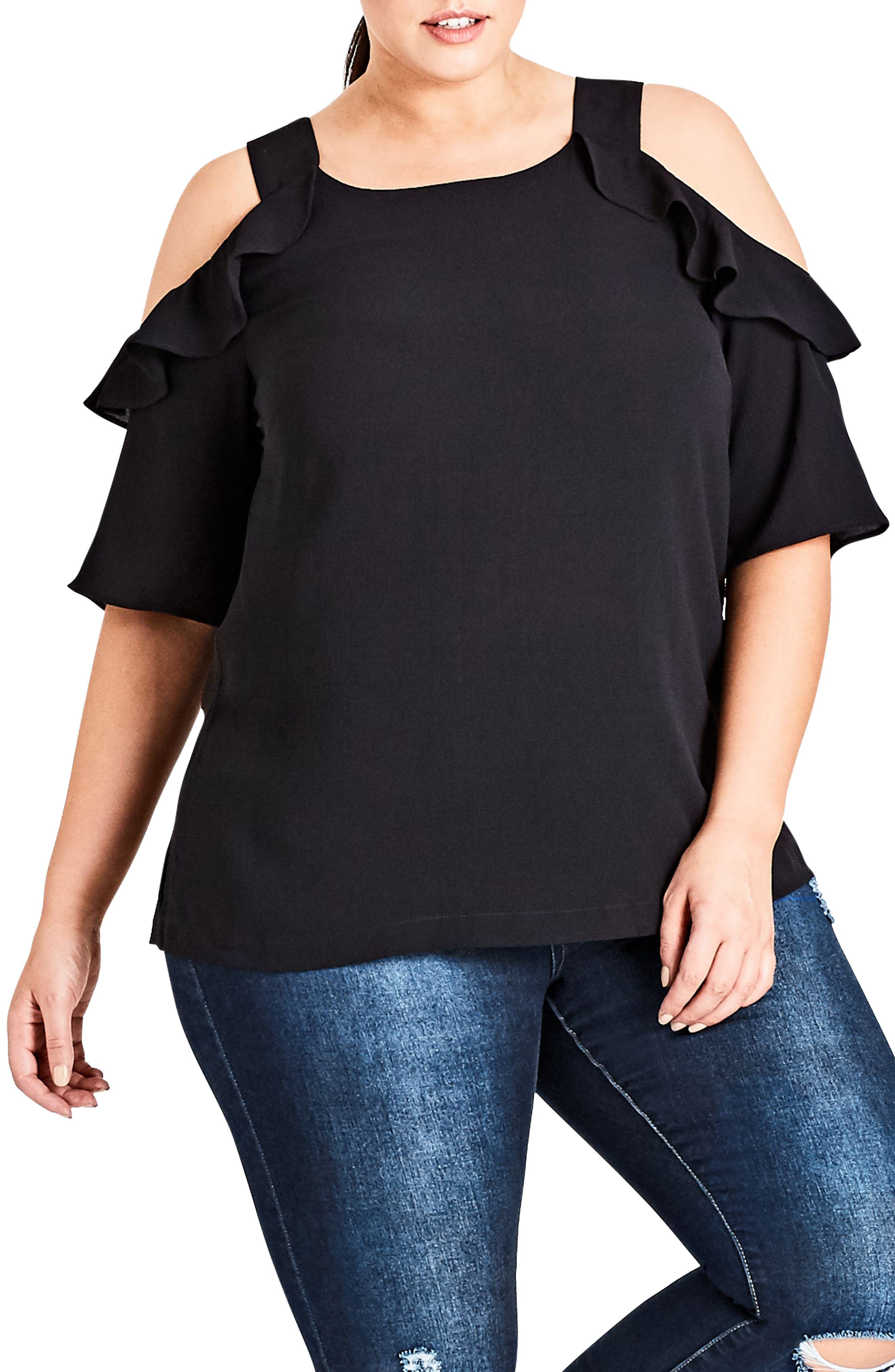 Wild Sleeve Cold Shoulder Top,                             Main thumbnail 1, color,                             001
