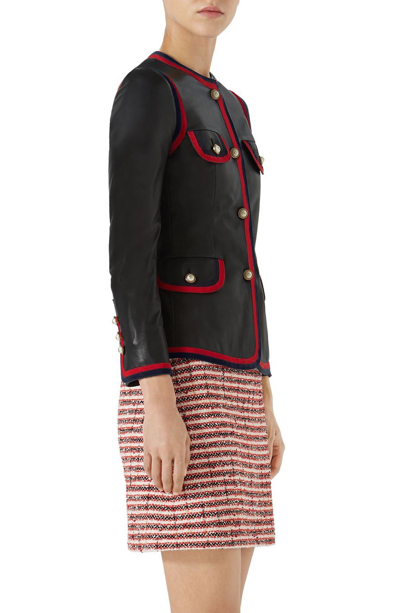Ribbon Trim Nappa Leather Jacket,                             Alternate thumbnail 3, color,                             BLACK
