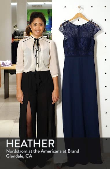Lace Bodice Chiffon Evening Dress, sales video thumbnail
