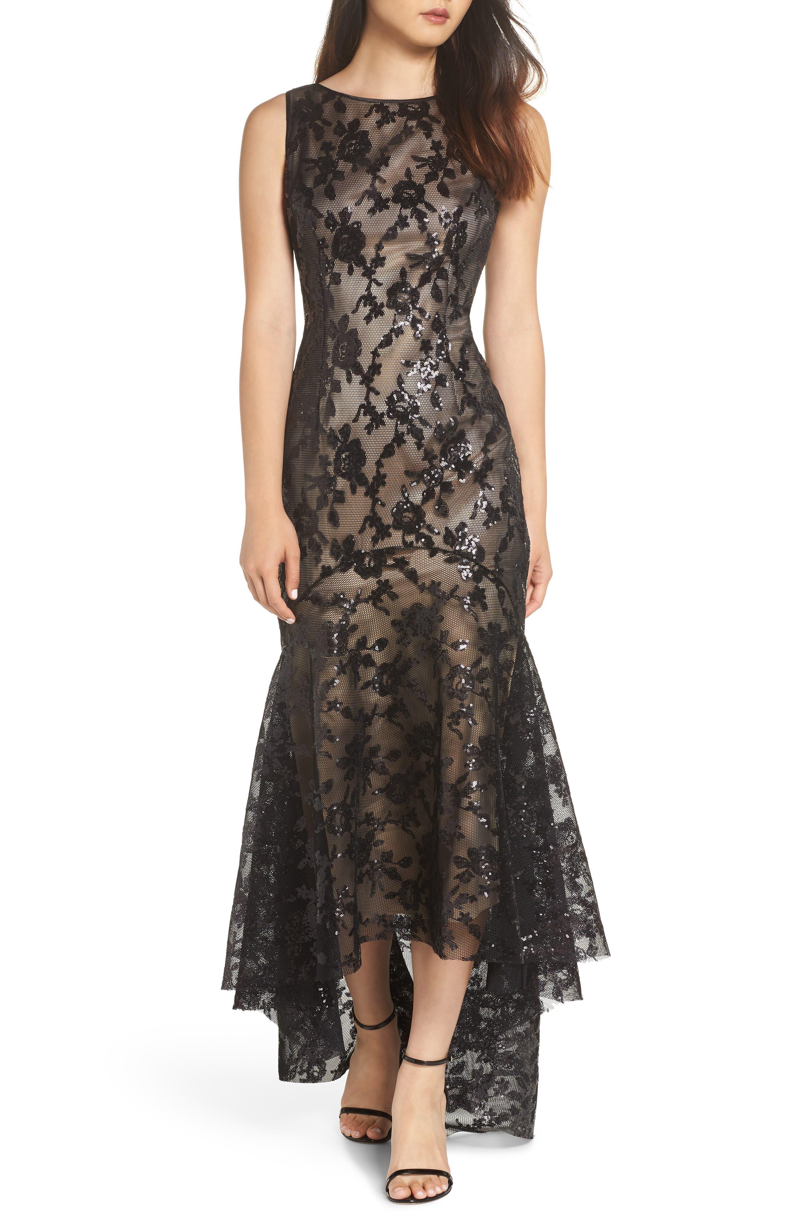 Eliza J Sequin & Lace High/low Trumpet Gown