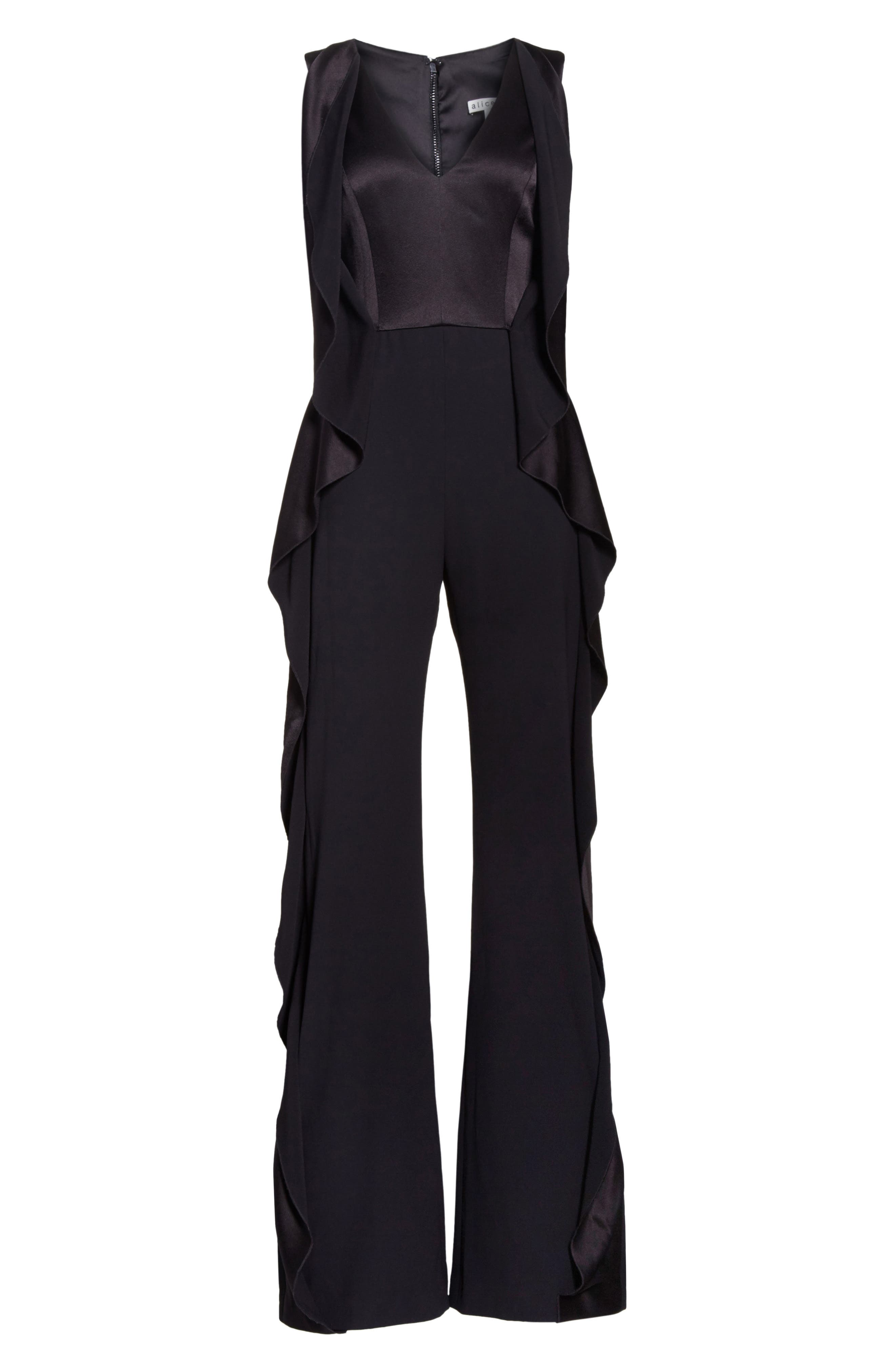 Side Ruffle Jumpsuit,                             Alternate thumbnail 6, color,                             001