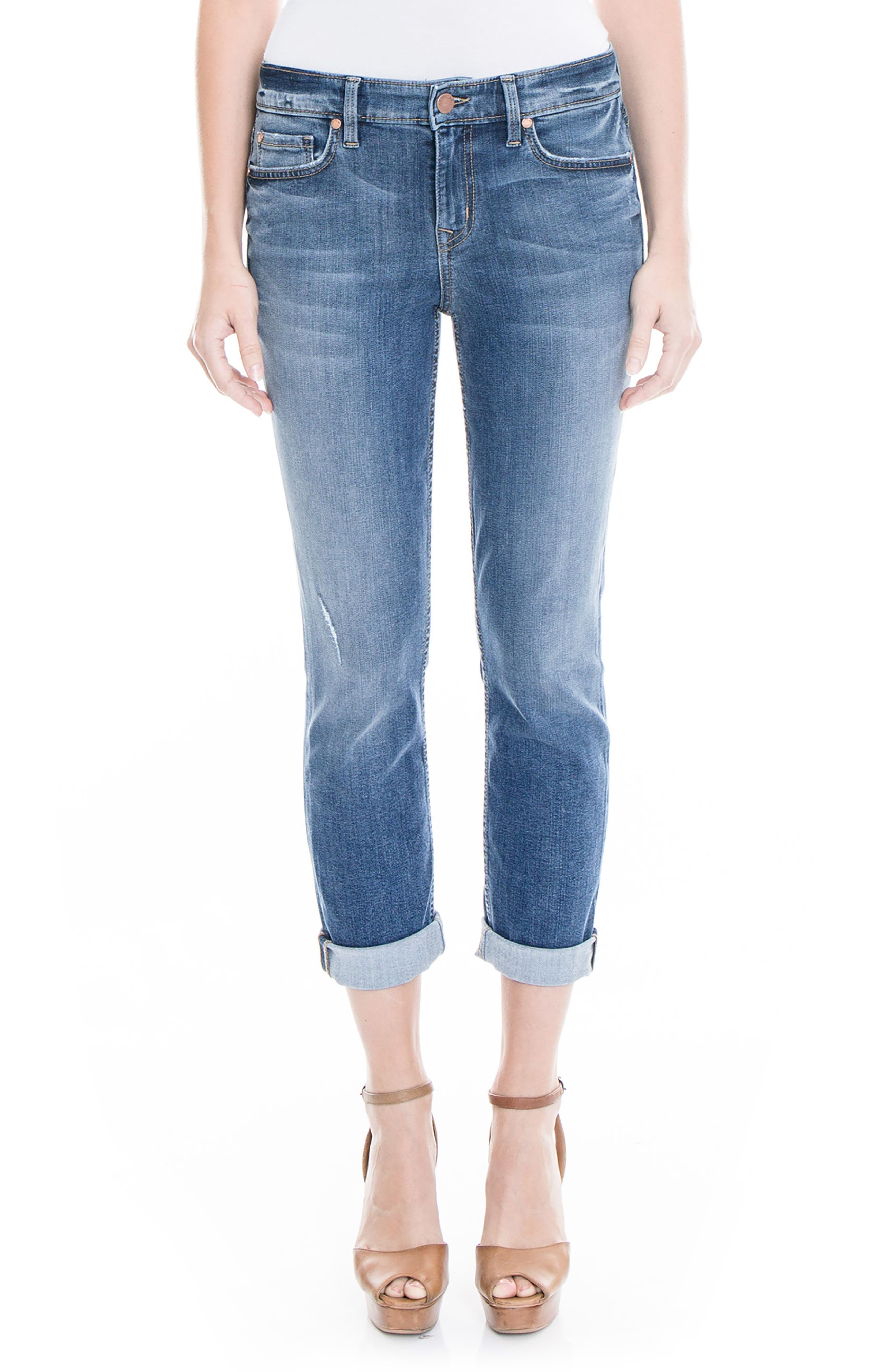 Lily Stretch Distressed Crop Cuff Jeans,                             Main thumbnail 1, color,                             477