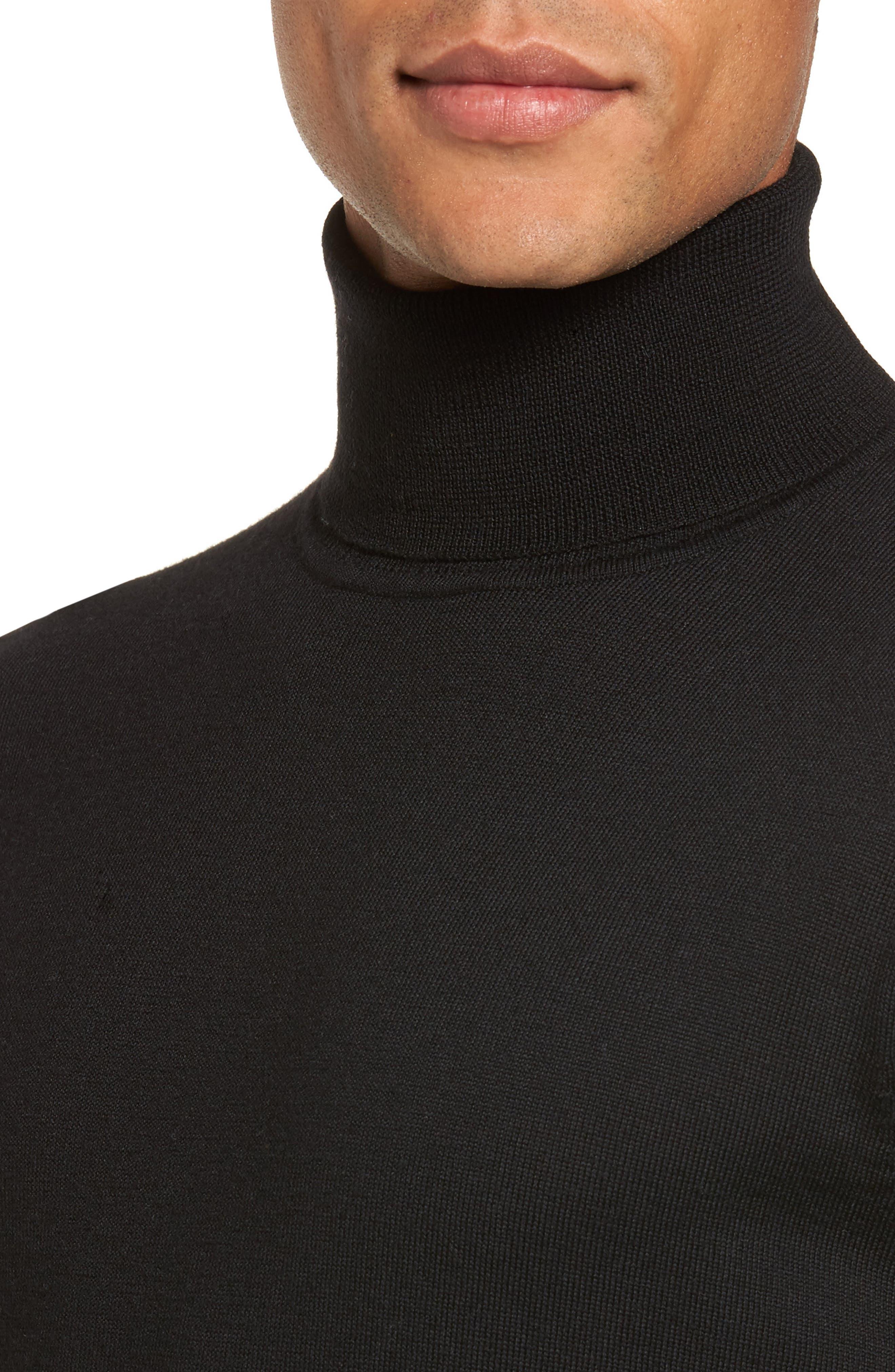Merino Wool Turtleneck Sweater,                             Alternate thumbnail 4, color,                             BLACK CAVIAR
