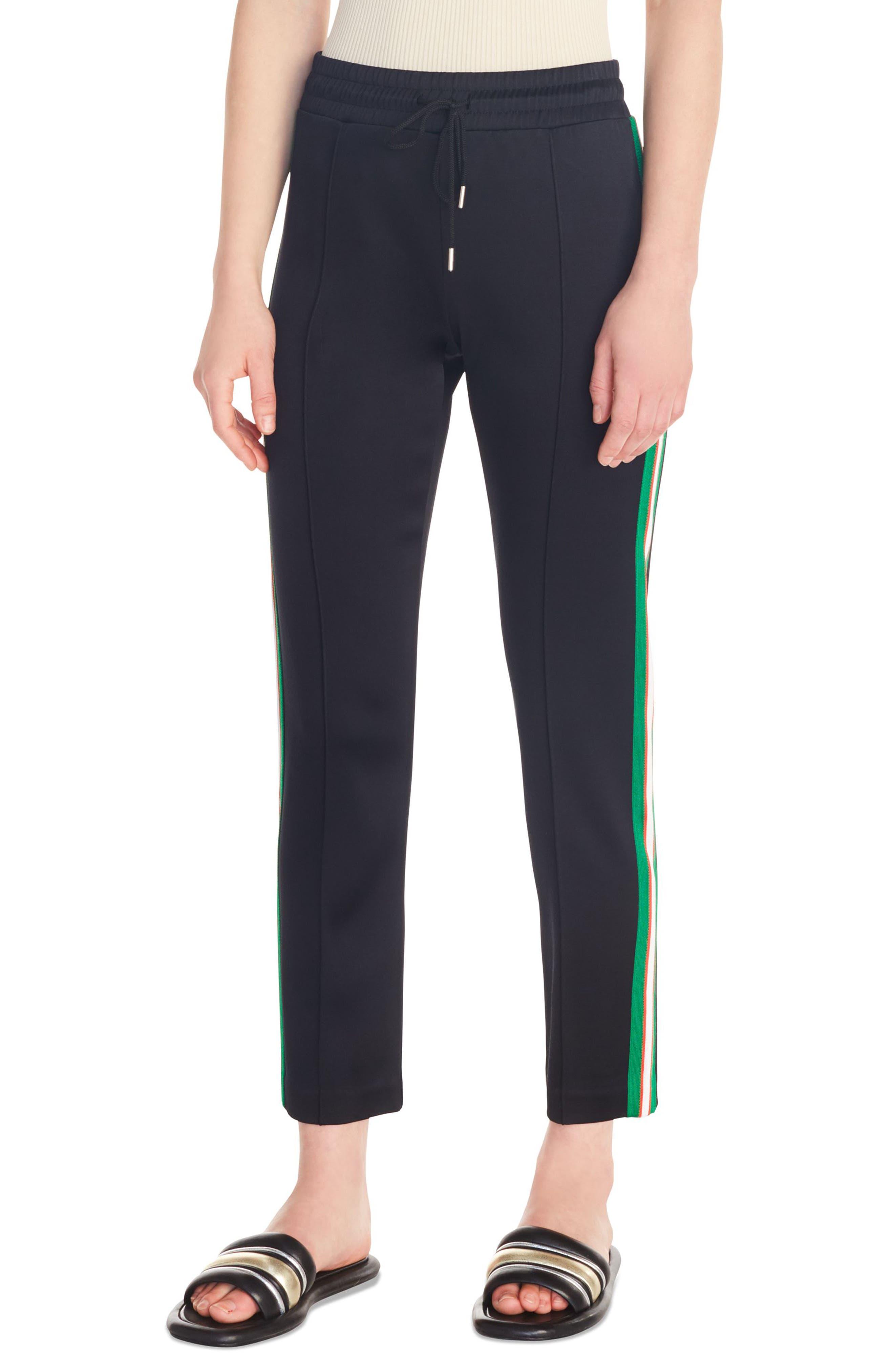 Jeanne Side Stripe Track Pants, Main, color, BLACK