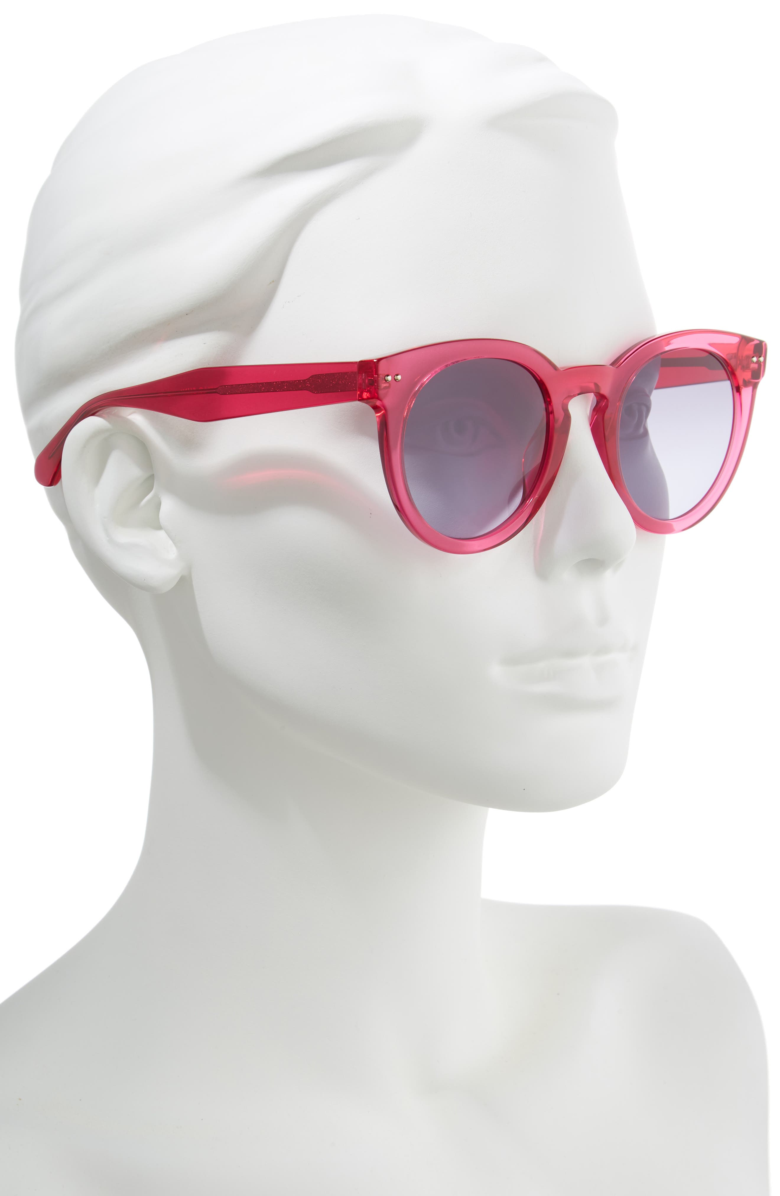 alexuss 50mm round sunglasses,                             Alternate thumbnail 2, color,                             CRYSTAL PINK
