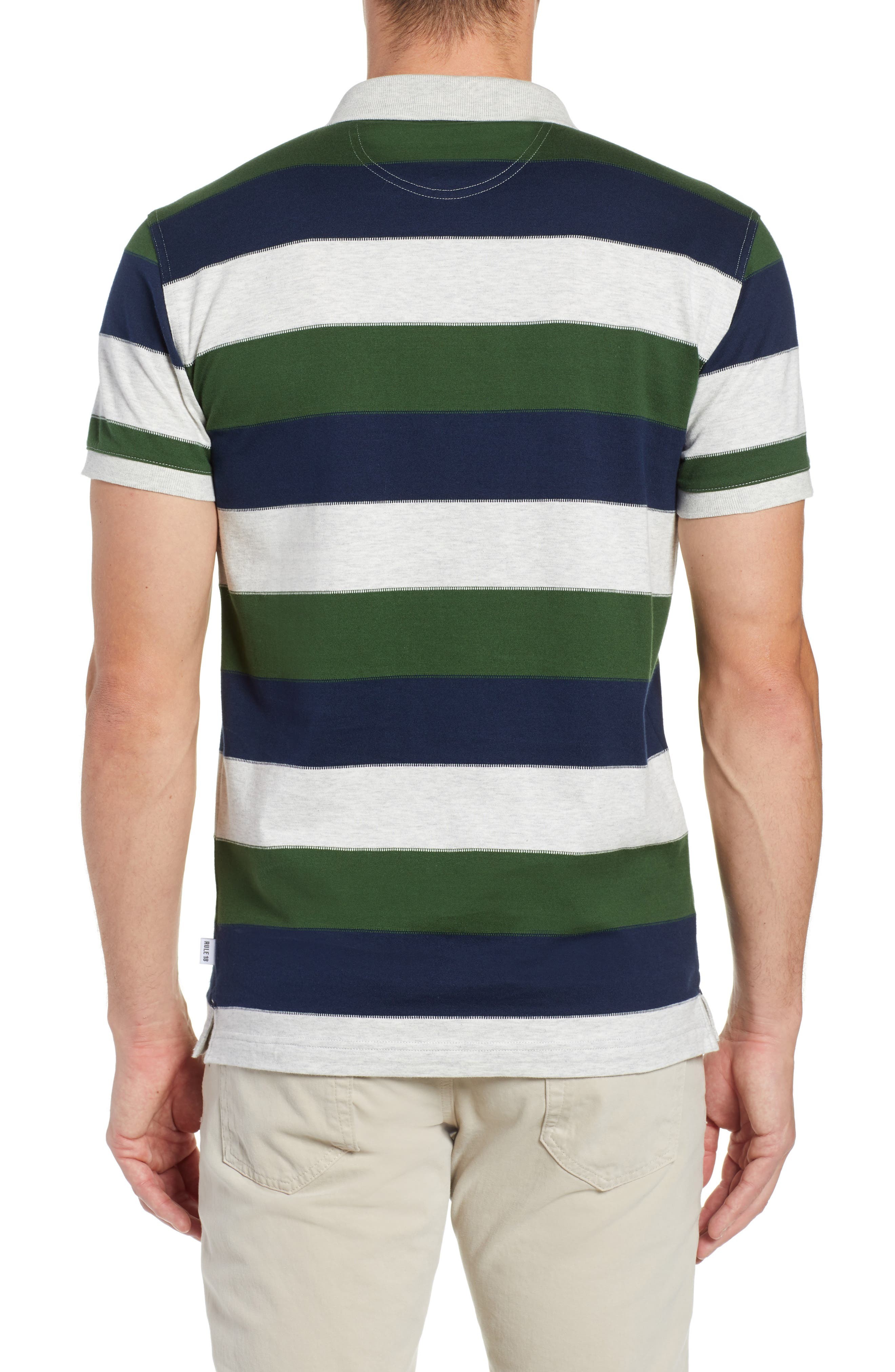 Rule 18 Regular Fit Wide Stripe Polo,                             Alternate thumbnail 2, color,                             020