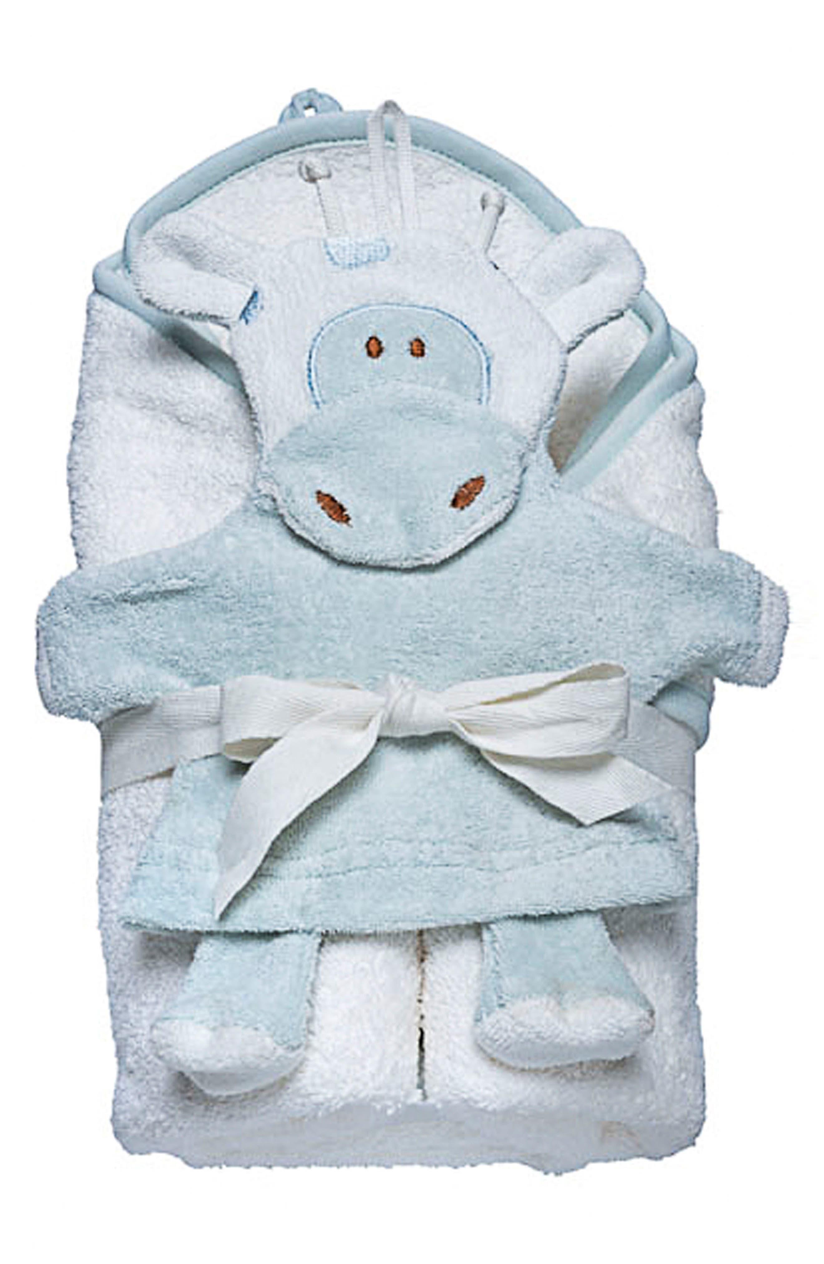 Hooded Towel & Bath Mitt Set,                         Main,                         color, WHITE