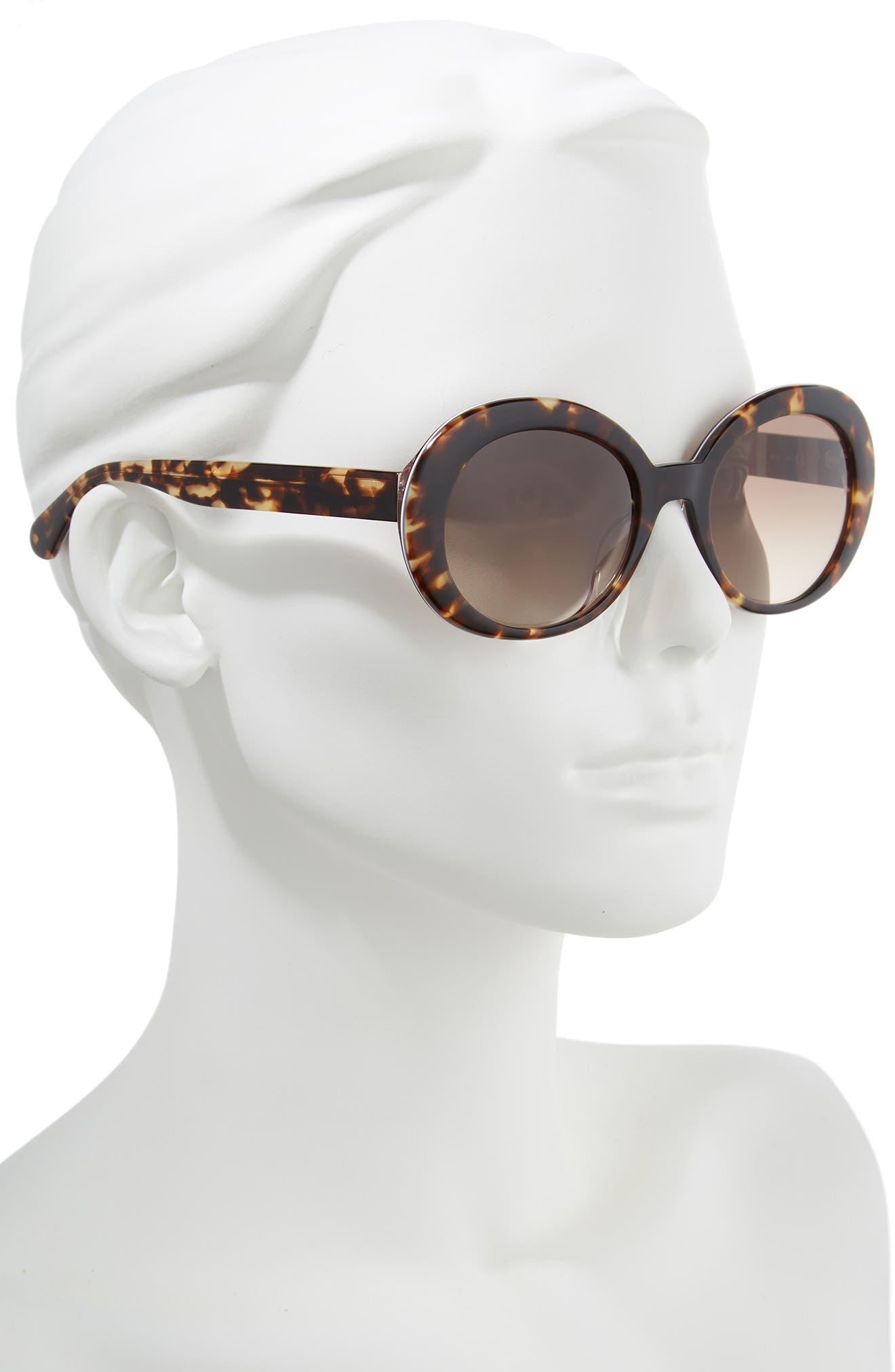 cindra 54mm gradient round sunglasses,                             Alternate thumbnail 2, color,                             DARK HAVANA