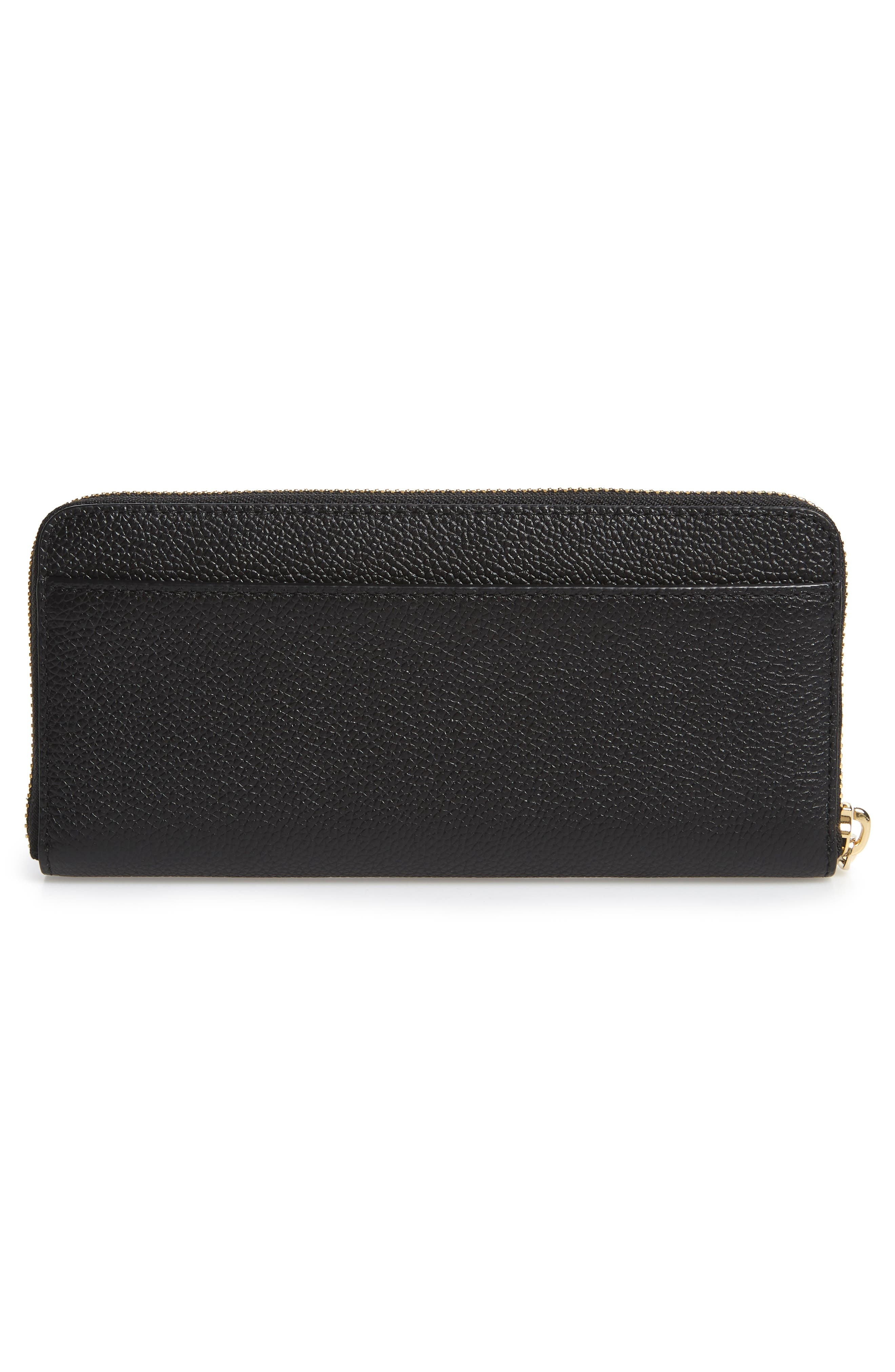 margaux leather continental wallet,                             Alternate thumbnail 3, color,                             BLACK