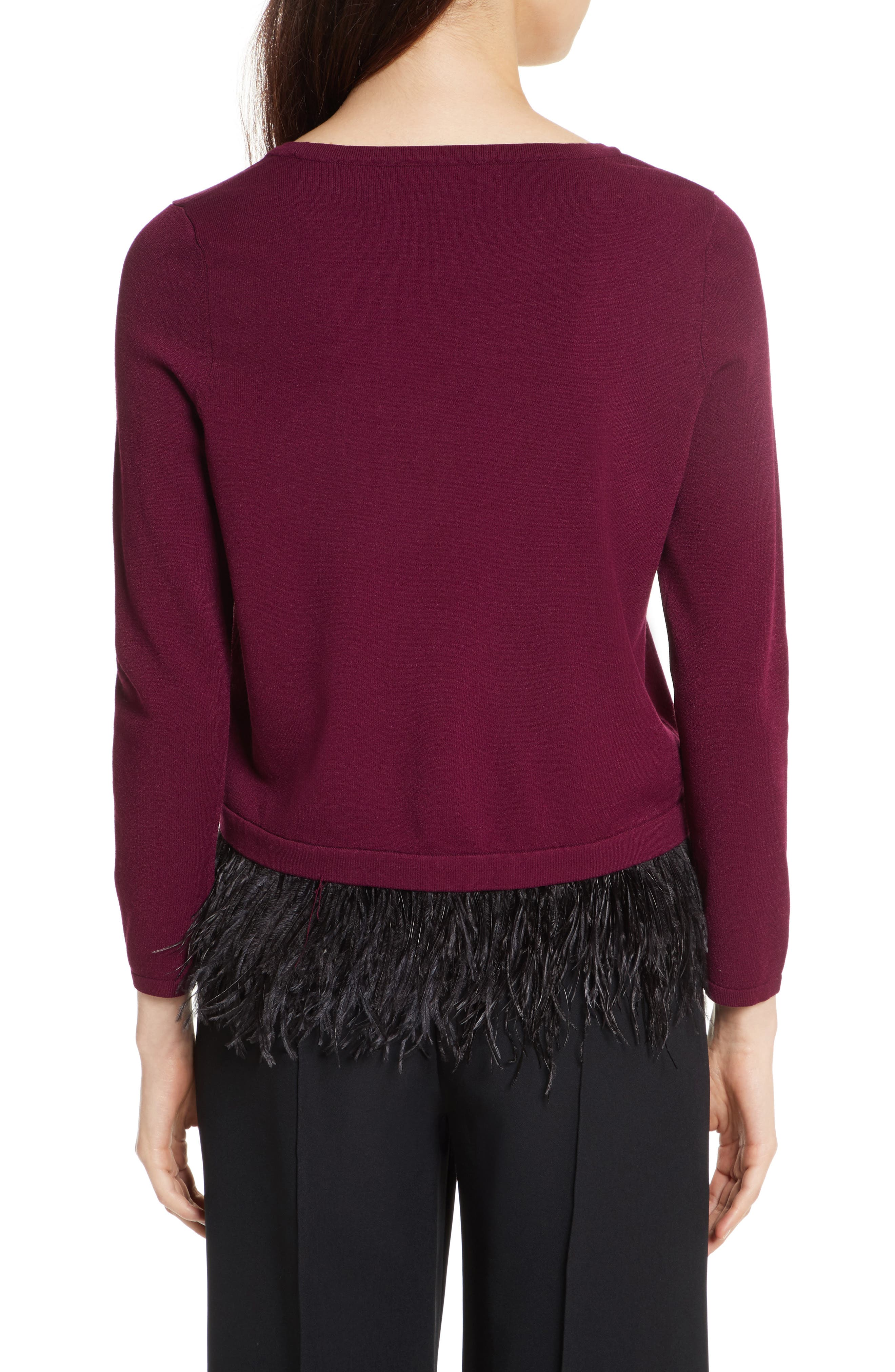 Feather Trim Sweater,                             Alternate thumbnail 2, color,                             931