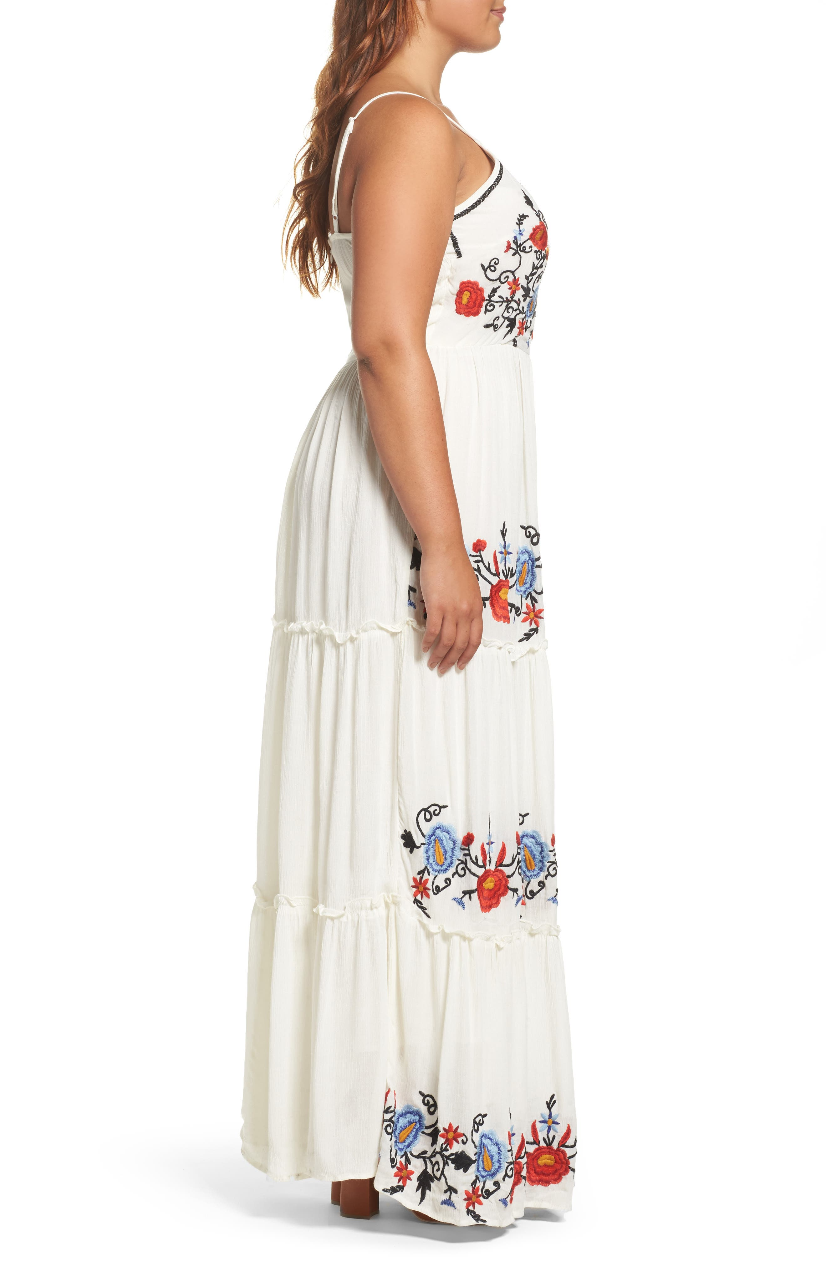 Embroidered Tiered Gauze Maxi Dress,                             Alternate thumbnail 3, color,                             100