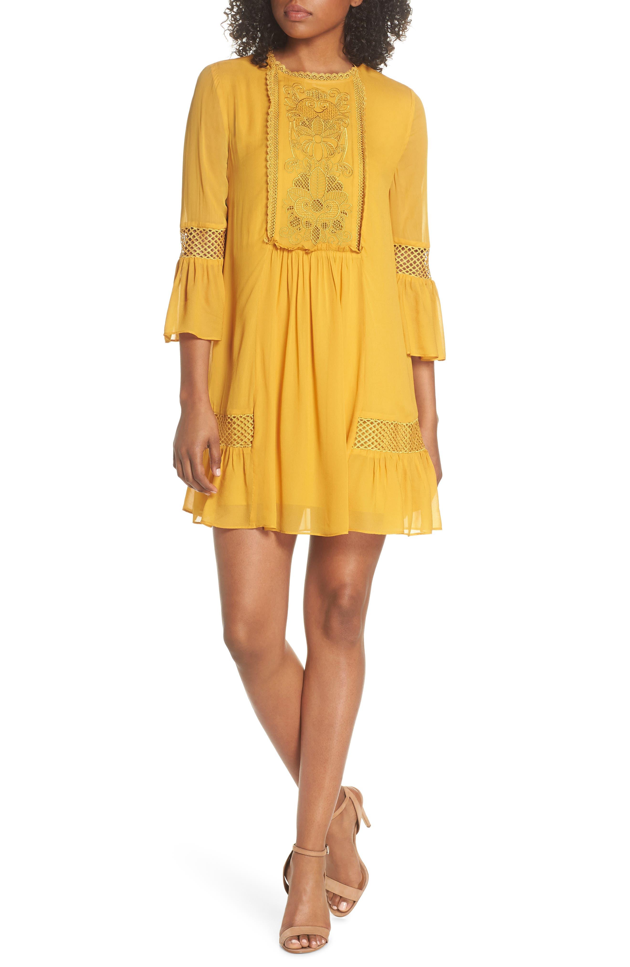 Embroidered Yoke Trapeze Dress,                         Main,                         color,