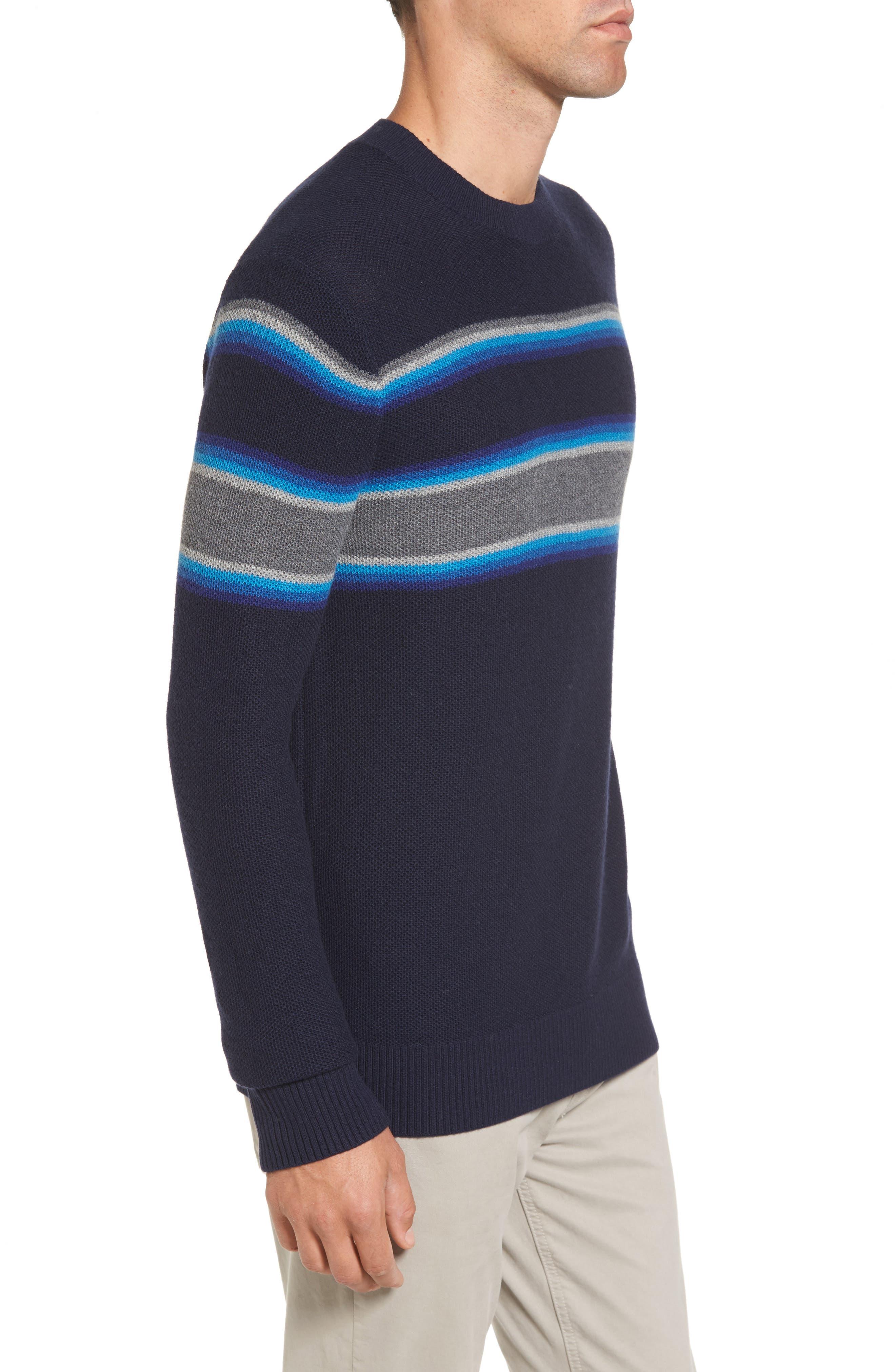 Stripe Merino Blend Sweater,                             Alternate thumbnail 3, color,                             416