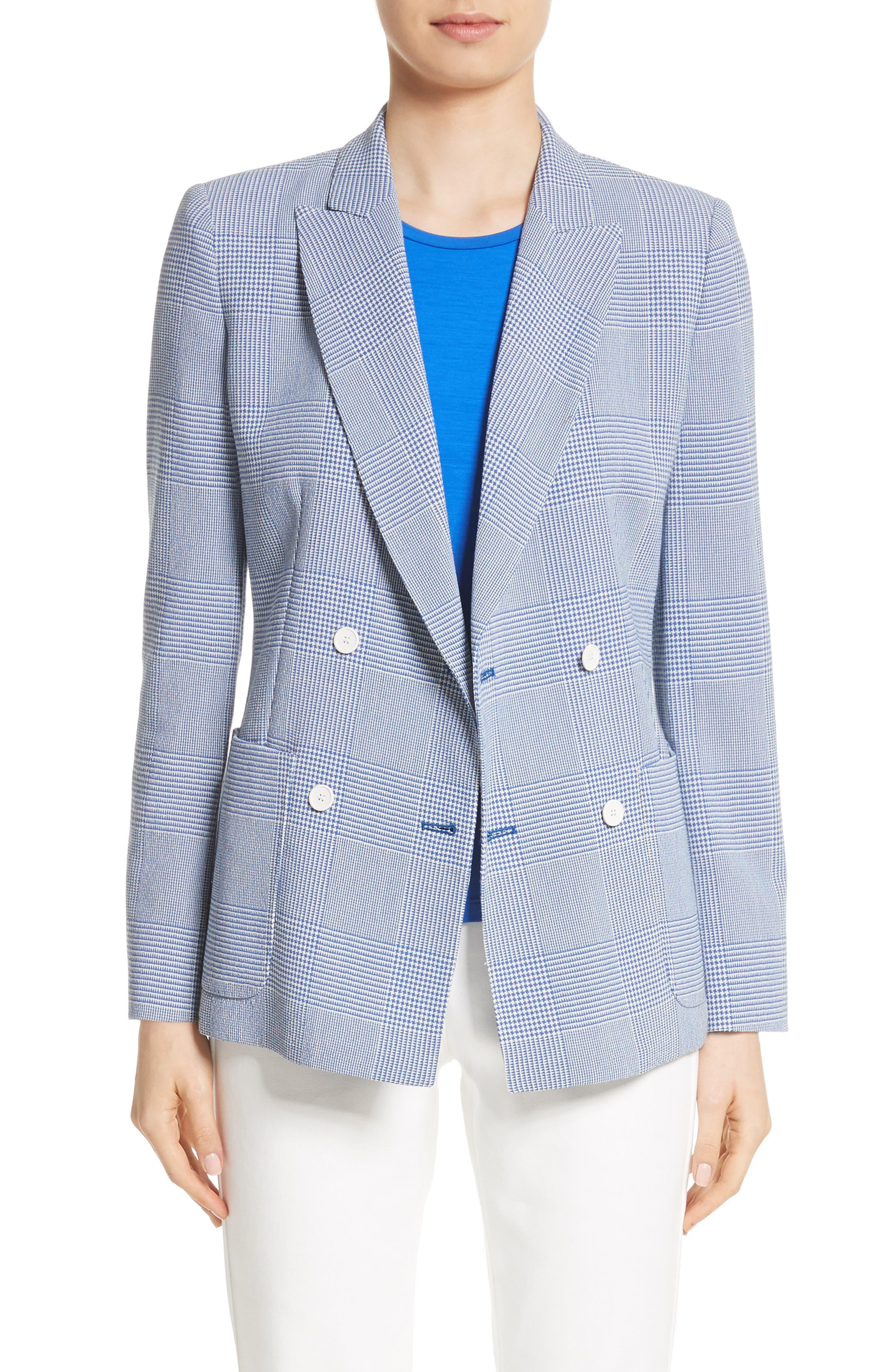 Ballata Check Wool Blazer,                             Main thumbnail 1, color,                             404