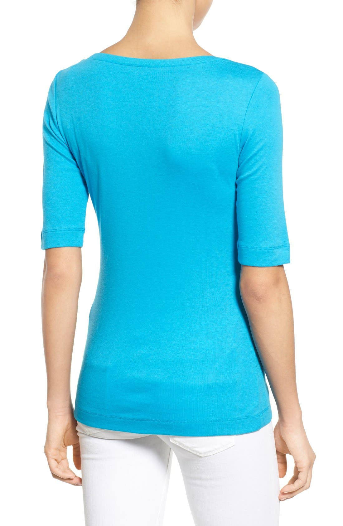 Ballet Neck Cotton & Modal Knit Elbow Sleeve Tee,                             Alternate thumbnail 83, color,