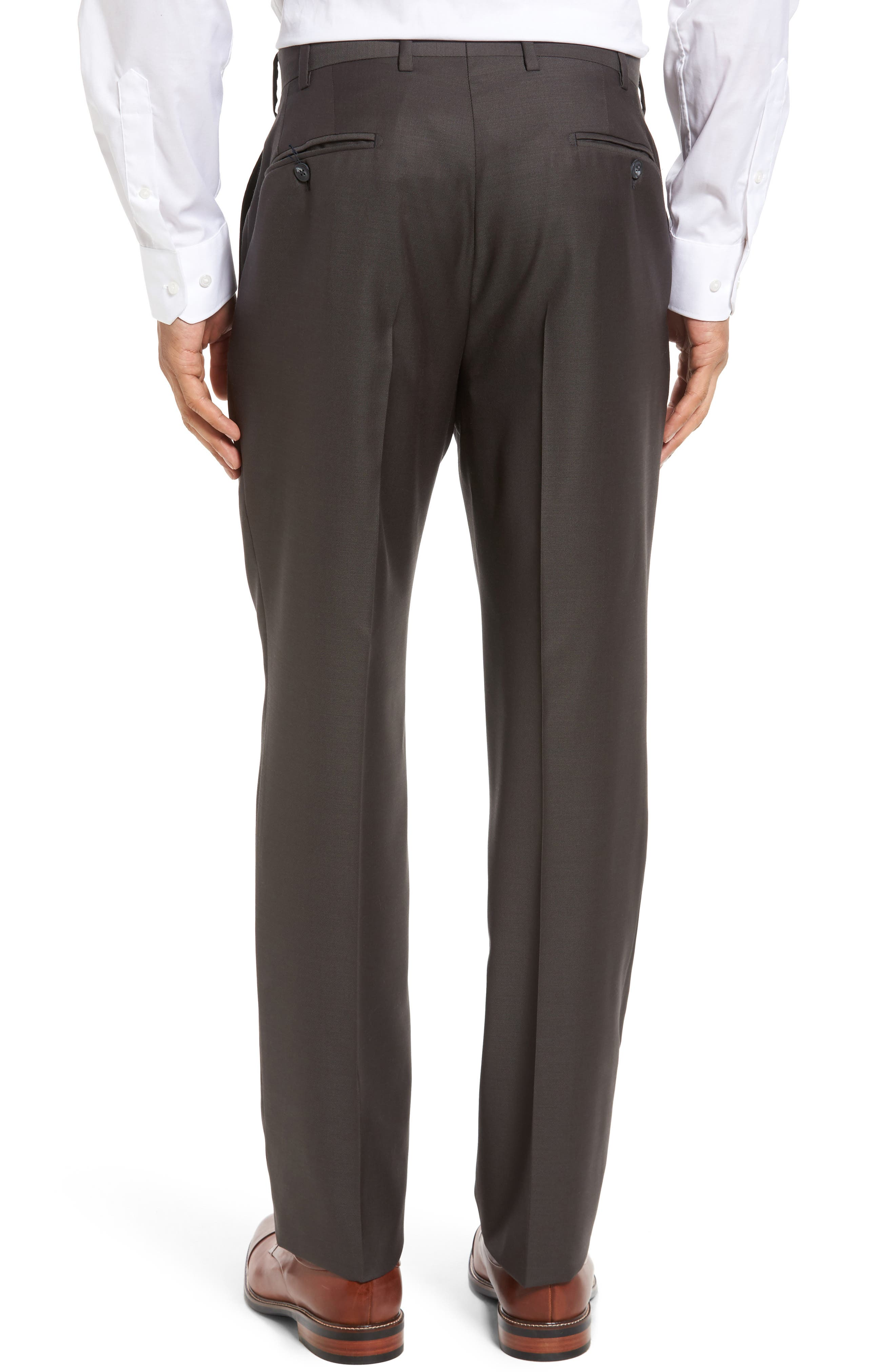 Flat Front Worsted Wool Trousers,                             Alternate thumbnail 31, color,